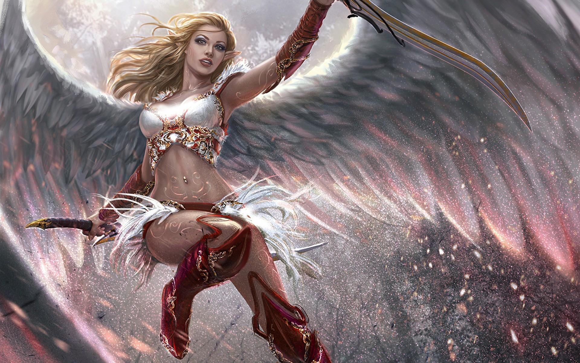 Wallpaper : anime, wings, angel, realistic, mythology