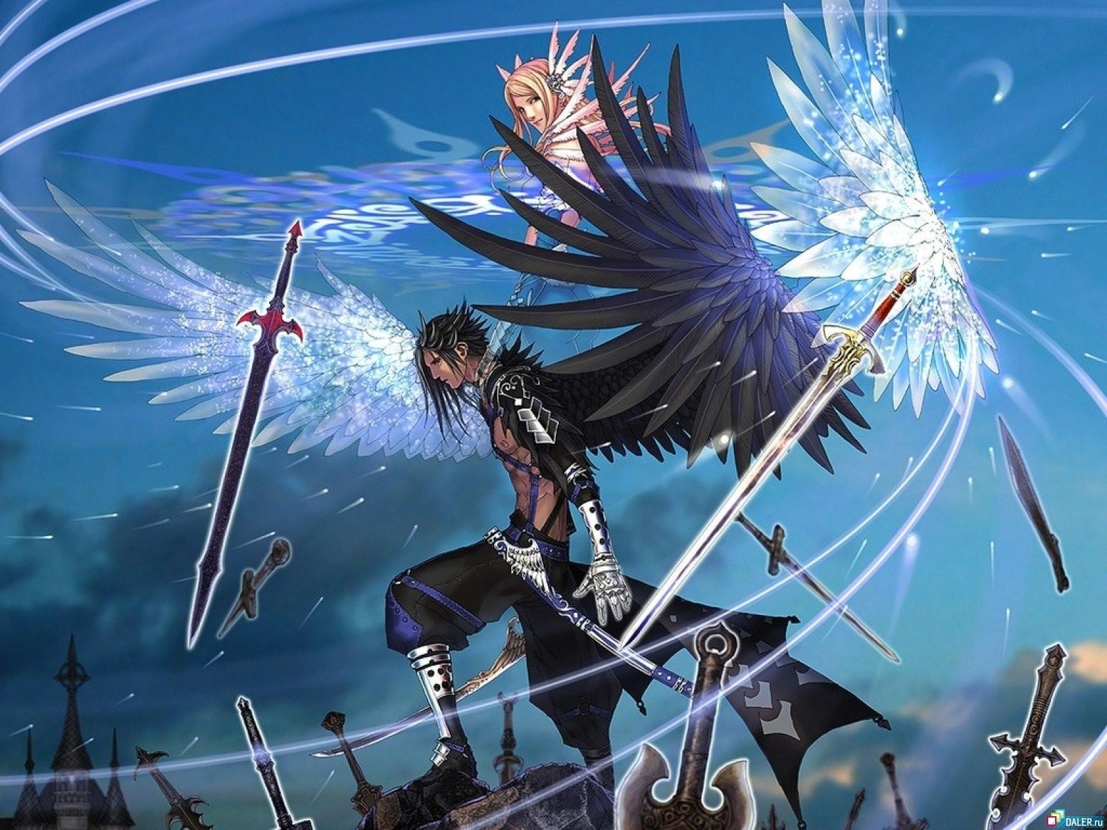 Anime Wings Flying Boy Girl Performance Jump Screenshot Computer Wallpaper Swords