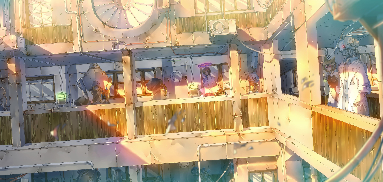 Apartments Anime Girls Robot Building Original Characters Resort Bar Restaurant