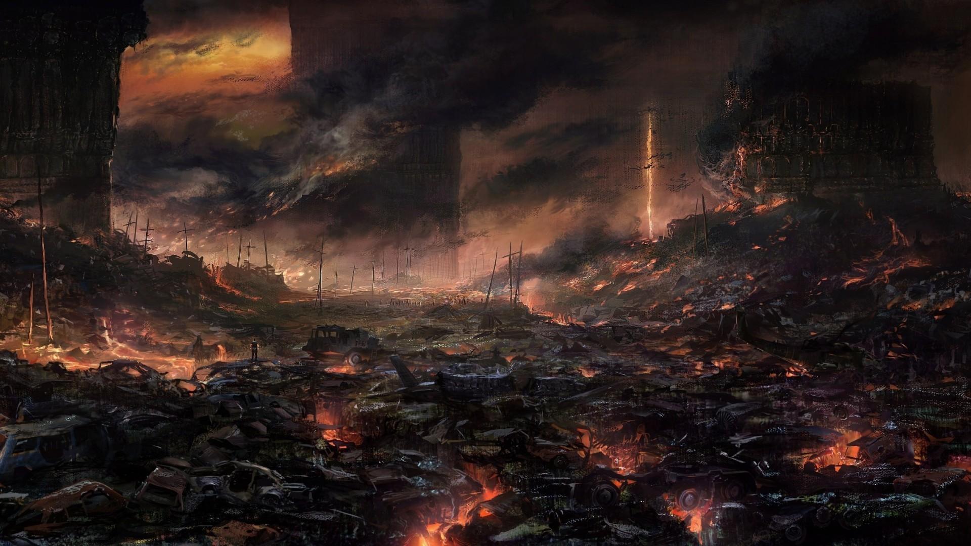 apocalyptic artwork fire explosion wasteland disaster wildfire darkness screenshot geological phenomenon