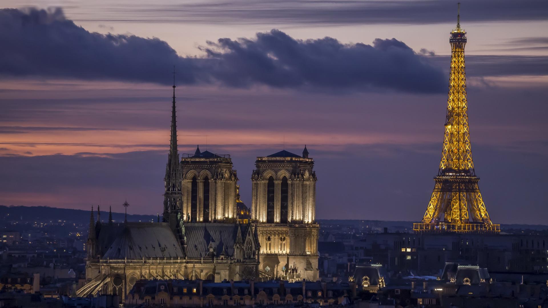 デスクトップ壁紙 建築 建物 家 パリ エッフェル塔 1920x1080