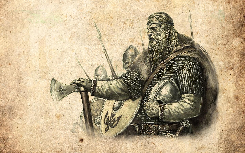 Artwork Vikings Axe Shield Helmet Mount And Blade Video Games