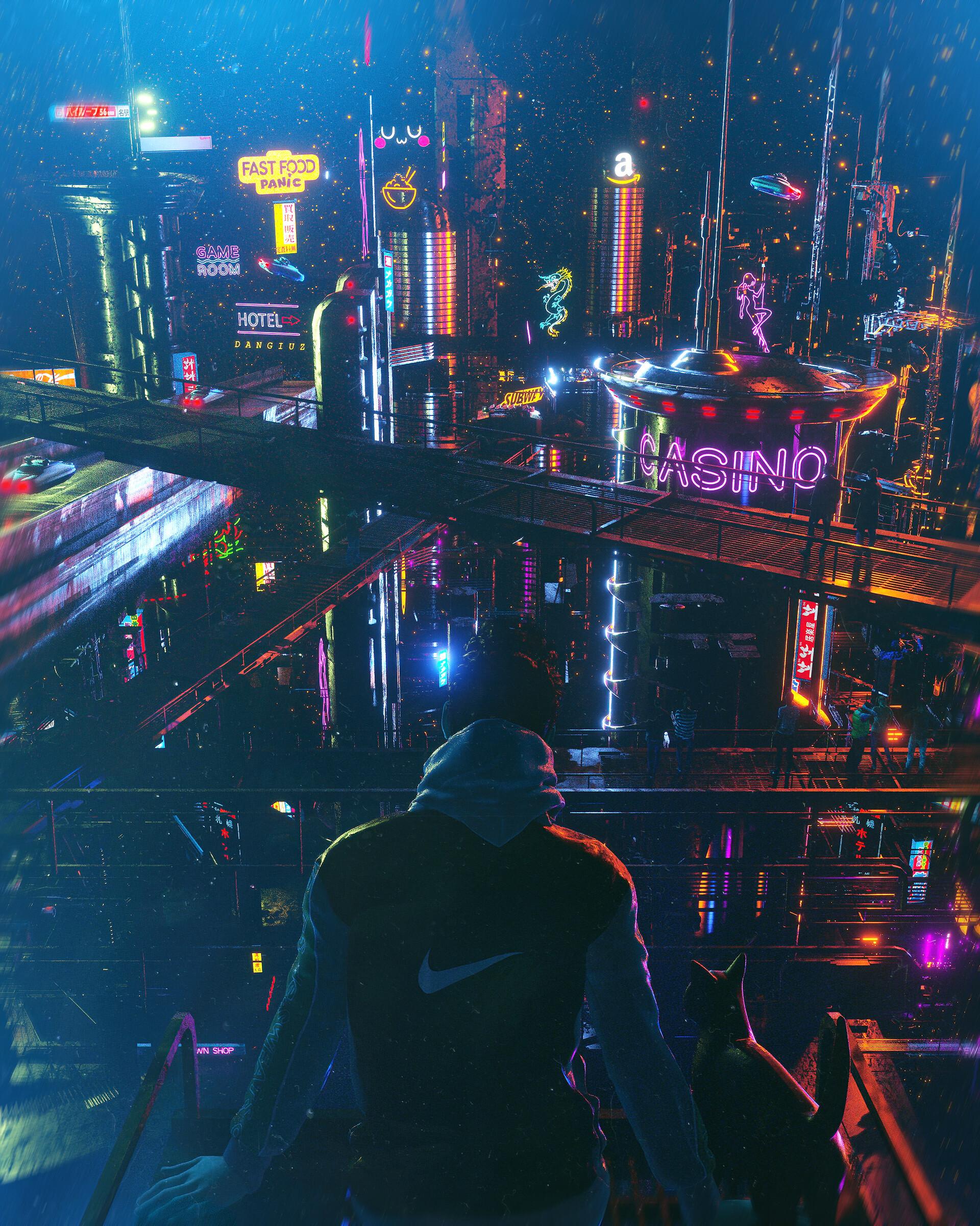 デスクトップ壁紙 アートワーク デジタルアート Cyber City サイバーパンク 猫 19x2400 Roseblack デスクトップ壁紙 Wallhere
