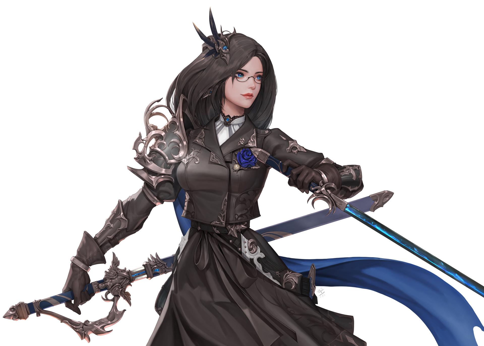 Fantasy Art Glasses Female Sword
