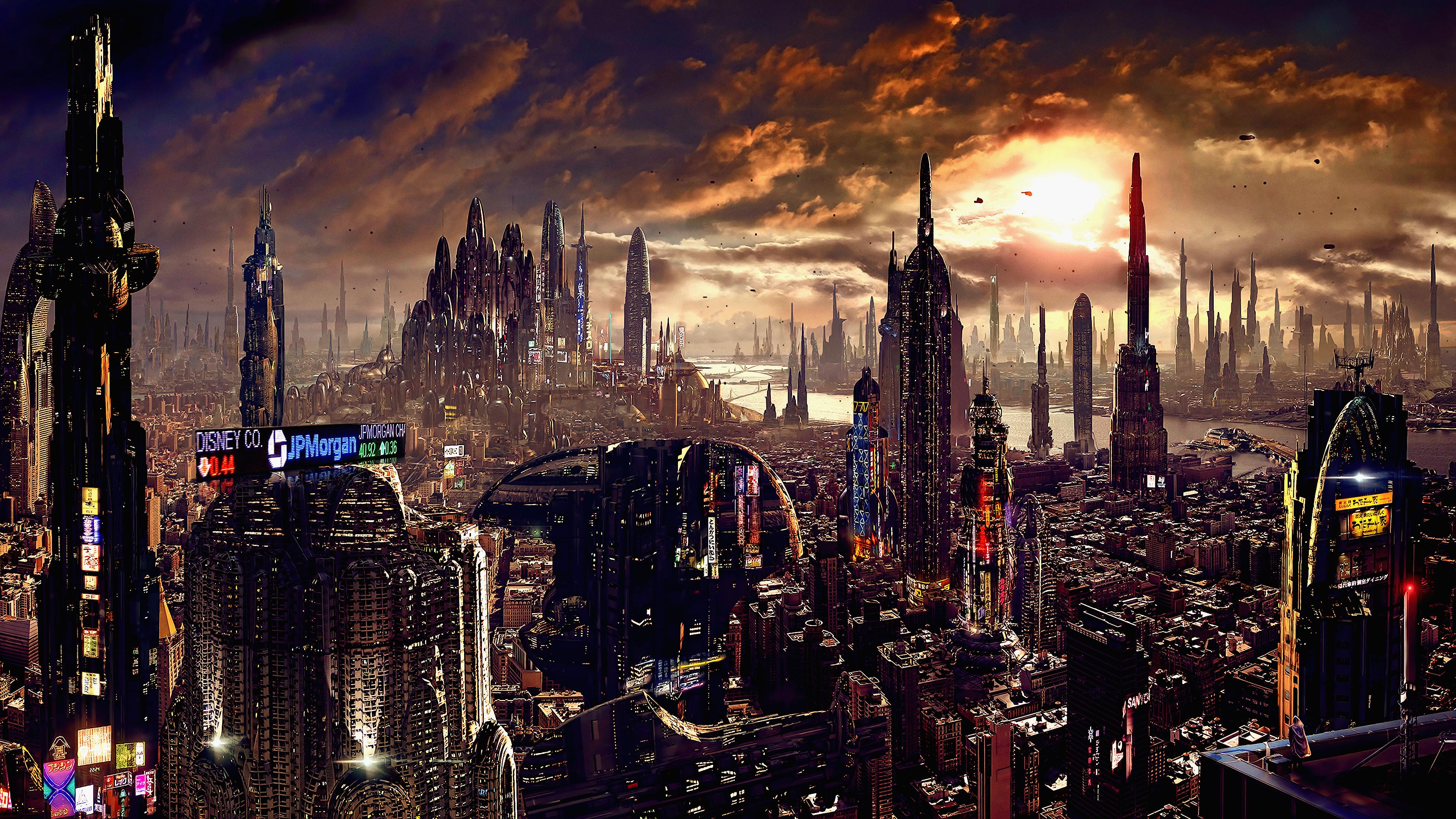 Wallpaper : artwork, futuristic city, science fiction ...