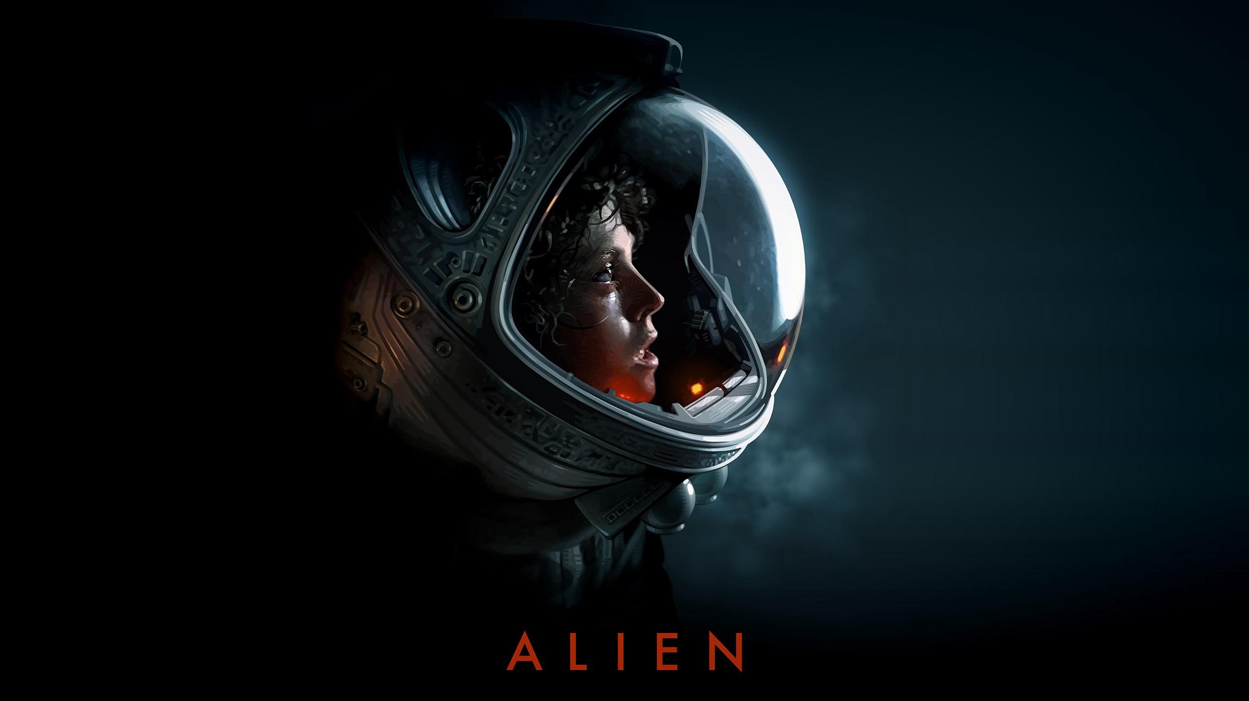 artwork science fiction Xenomorph Alien movie space suit Ellen Ripley Sigourney Weaver darkness screenshot computer wallpaper