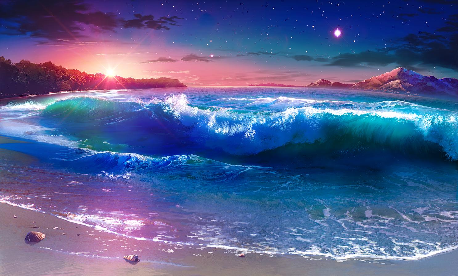 Wallpaper : artwork, sunset, clouds, waves, sky, beach