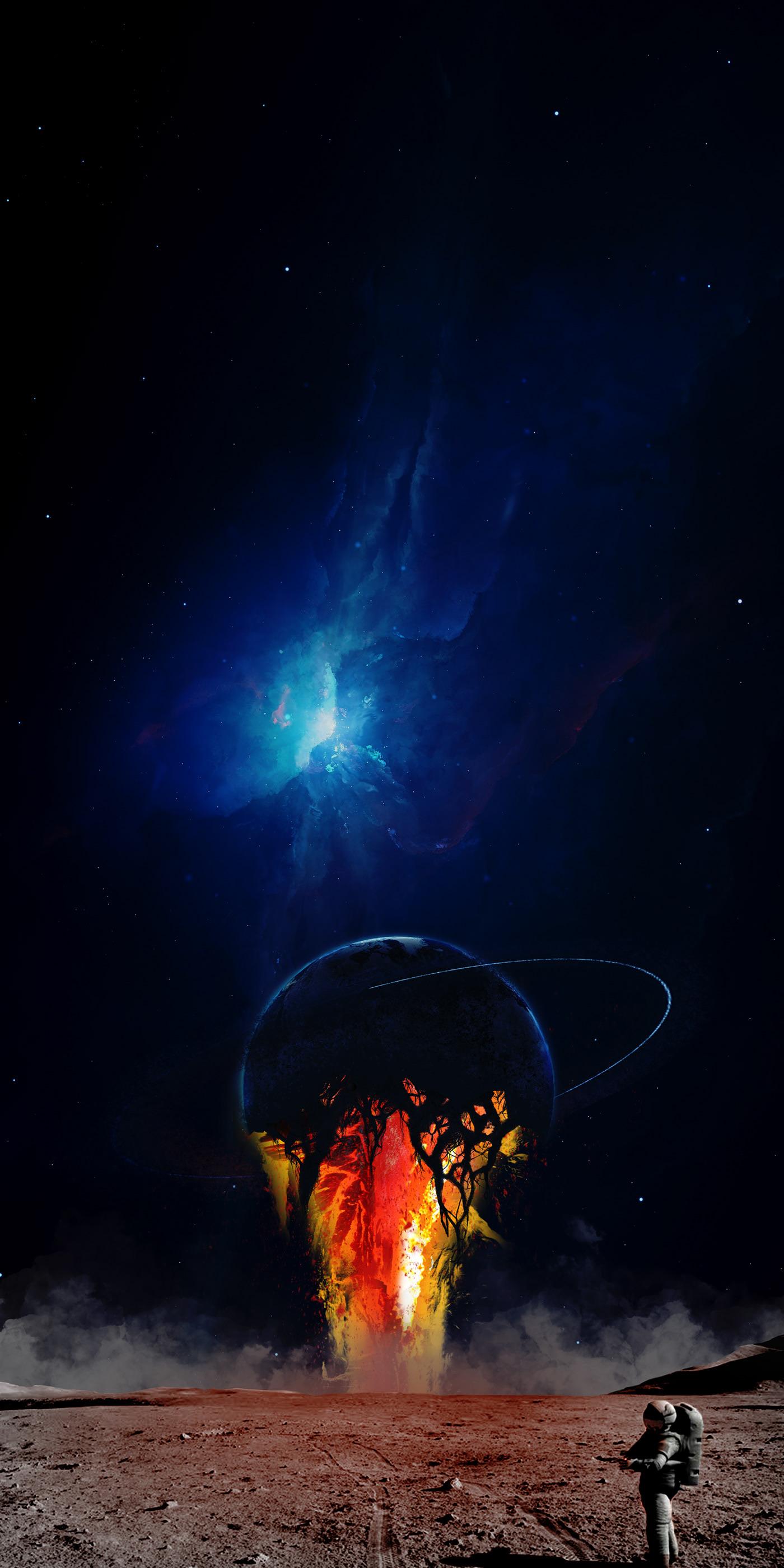 Wallpaper Astronaut Colorful Galaxy Stars Earth Plasma 1400x2800 Spook 1700725 Hd Wallpapers Wallhere