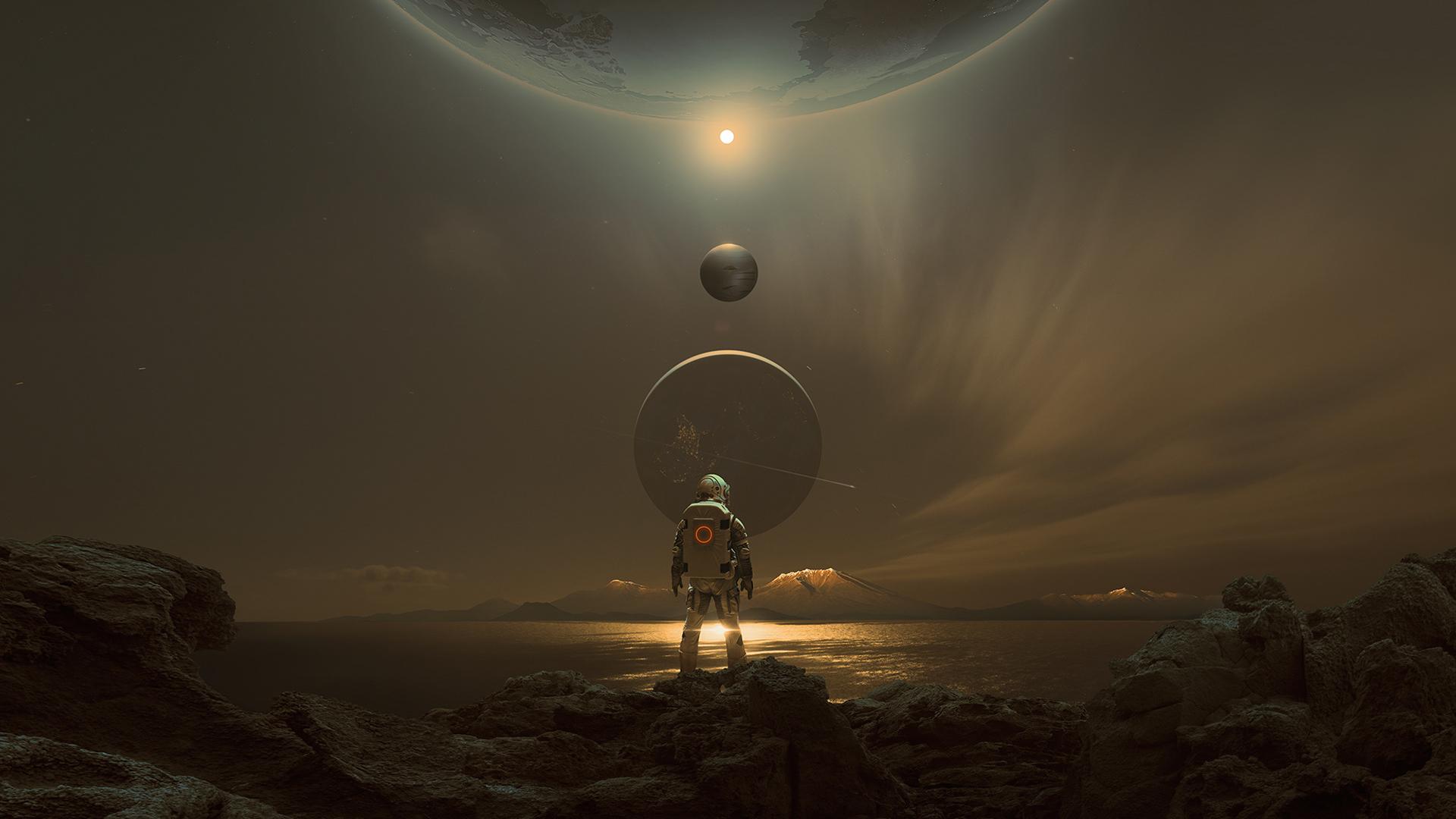 壁纸 宇航员 行星 空间 火星 天空 晚 科幻小说 未来派 太阳系
