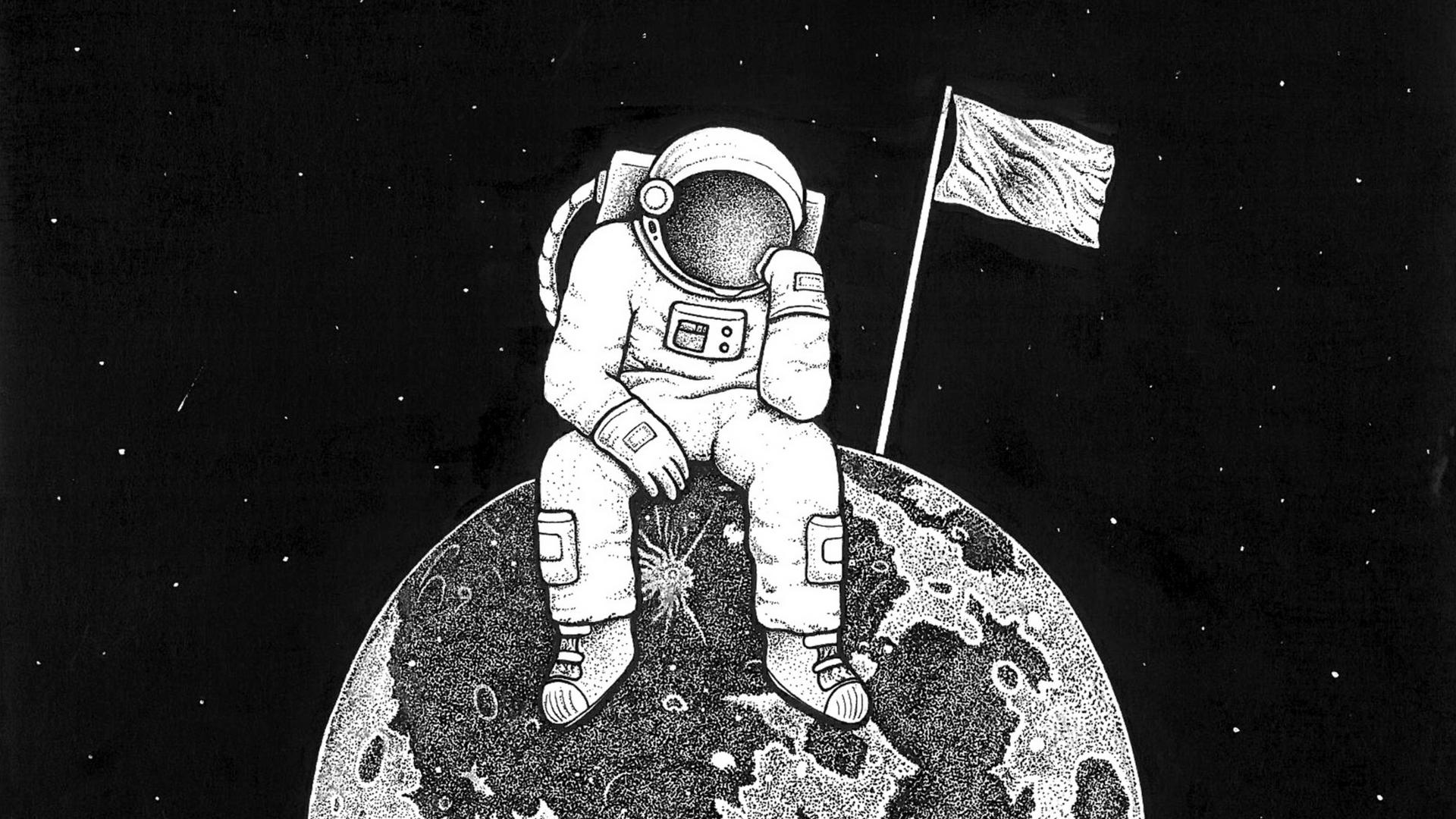 Wallpaper Astronaut Space Drawing Artwork Monochrome Planet Black White 1920x1080 Goethe 1618153 Hd Wallpapers Wallhere