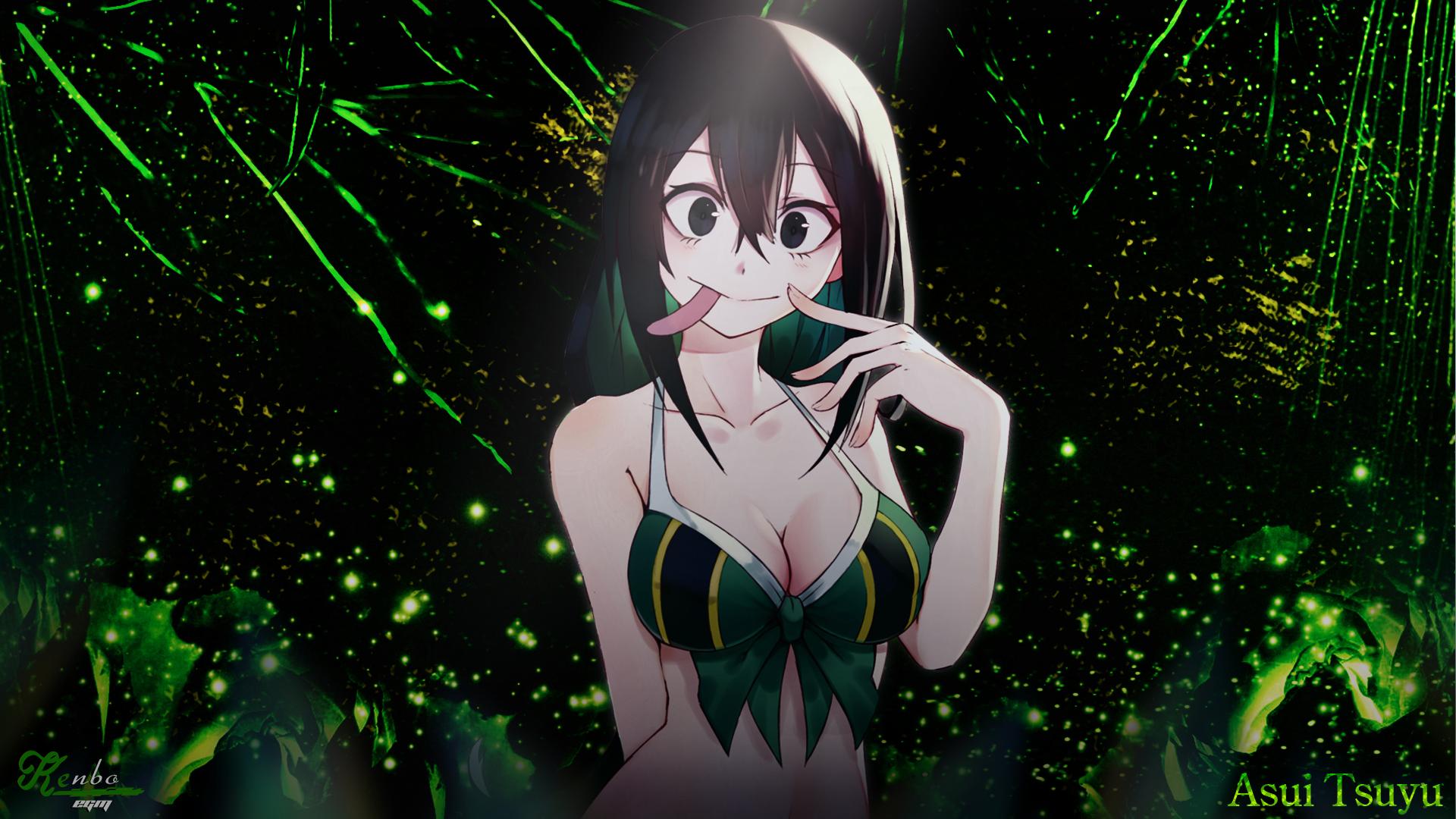 Wallpaper Asui Tsuyu Boku No Hero Academia Green Anime Girls