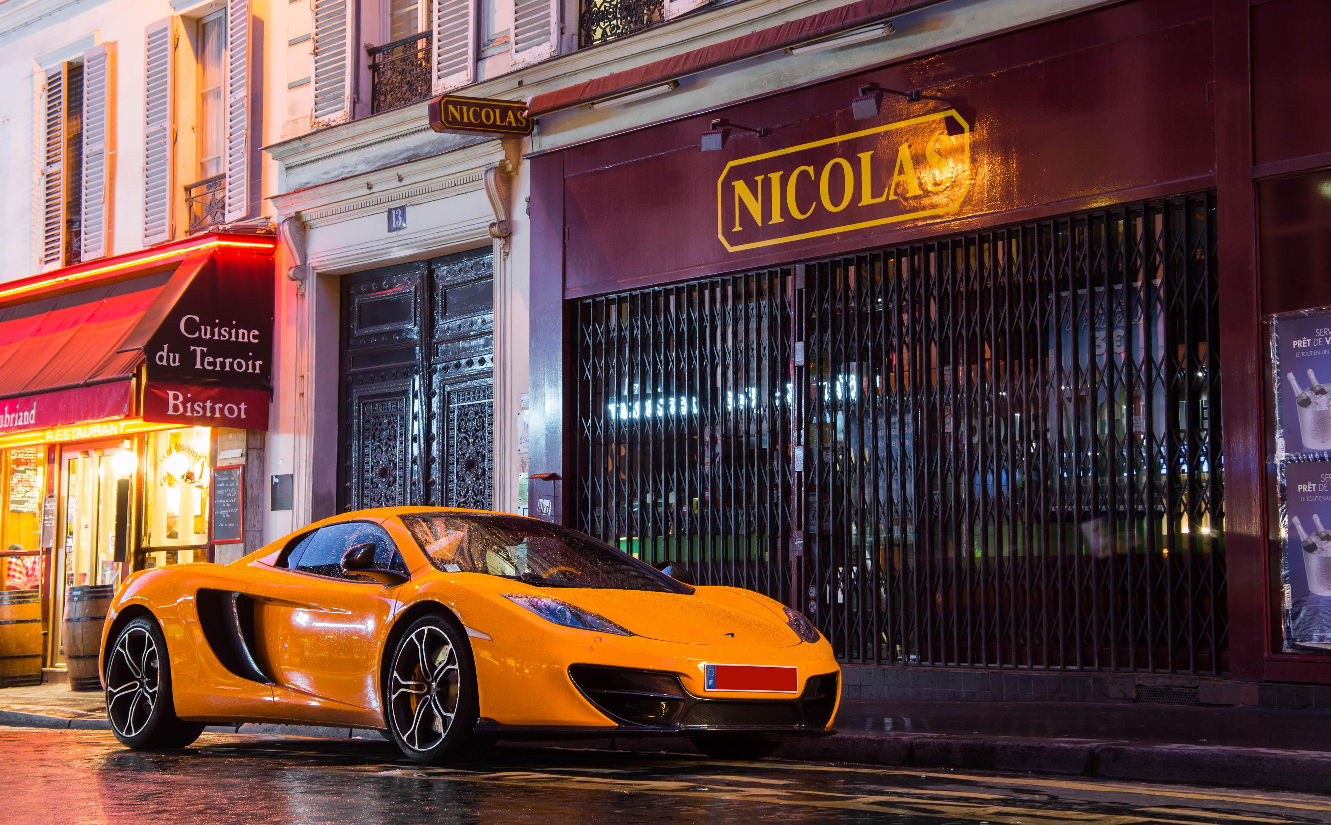 Wallpaper Auto Orange Paris Car Sport Night Race