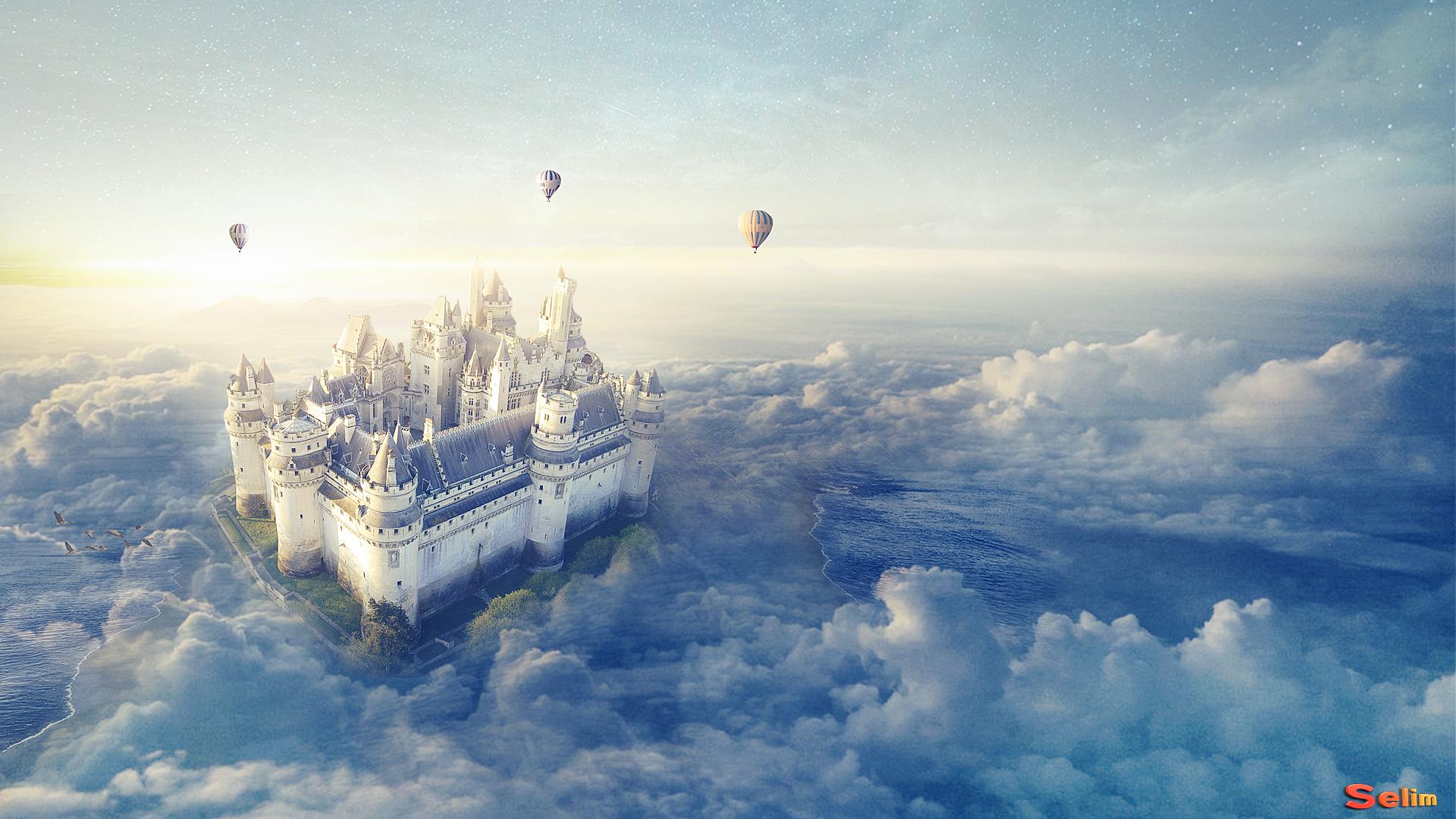 Un Chateau Dans Les Nuages fond d'écran : ballon, château, nuage, fantastique, mer