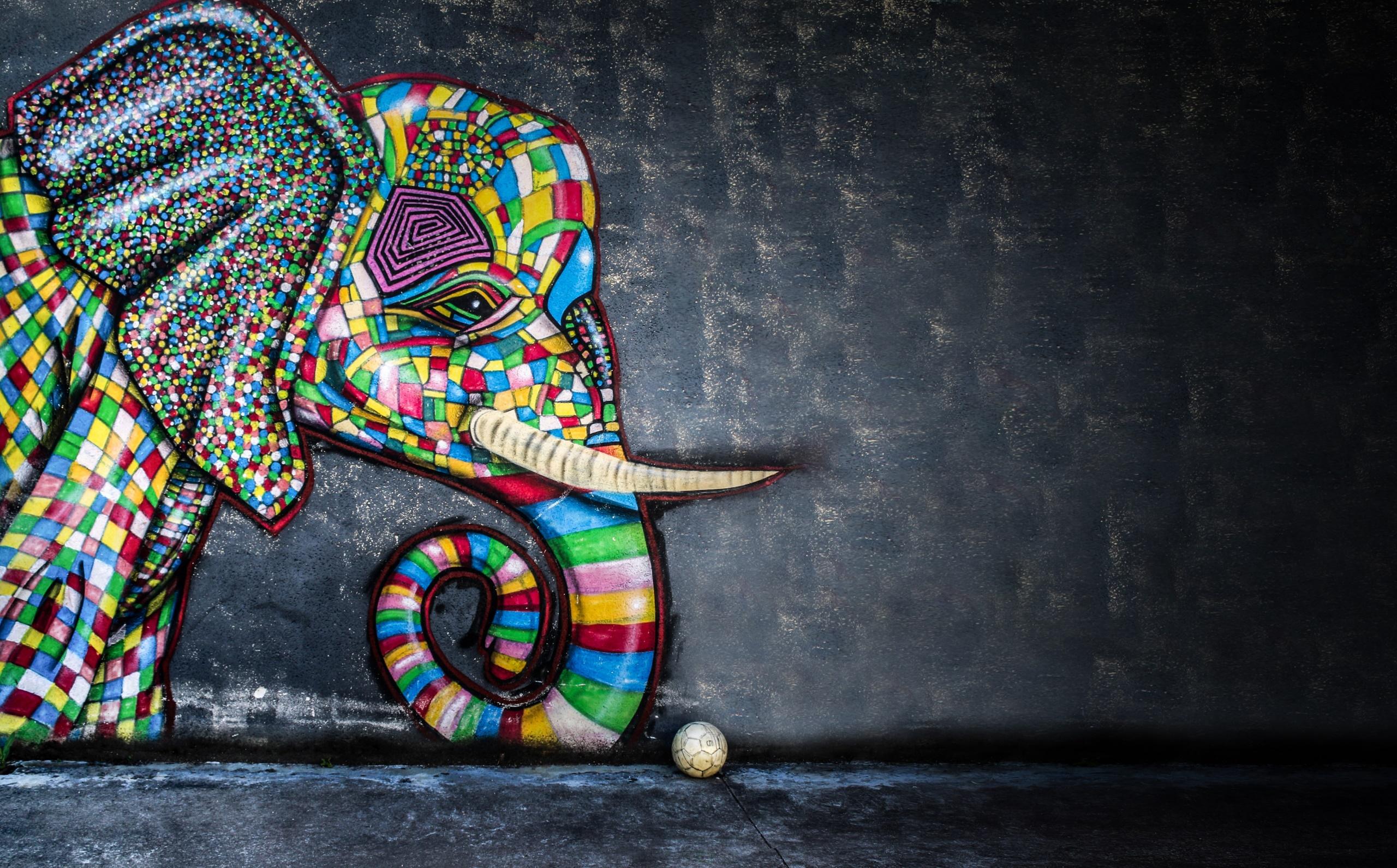 Balls Artwork Colorful Elephant