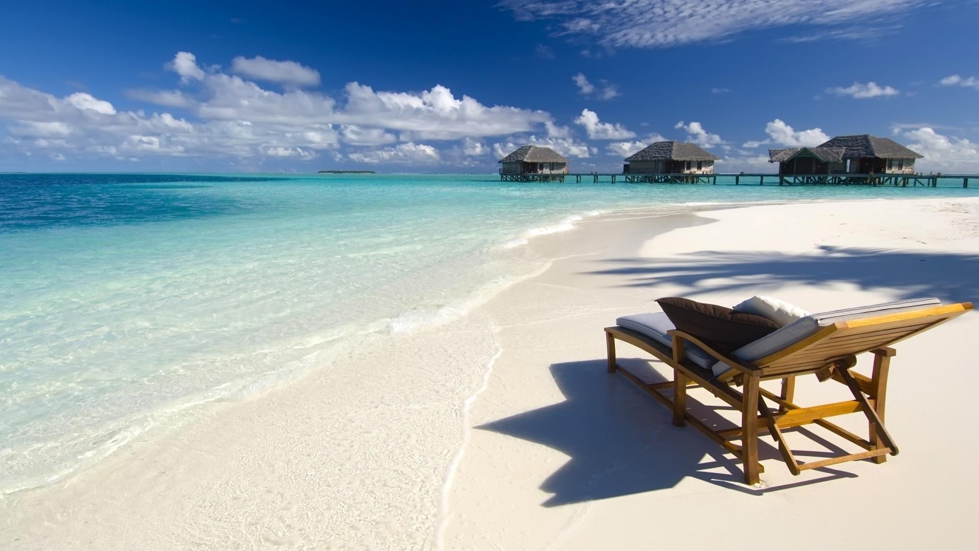 Wallpaper Beach Sea Tropics Chair Pillows Bungalow
