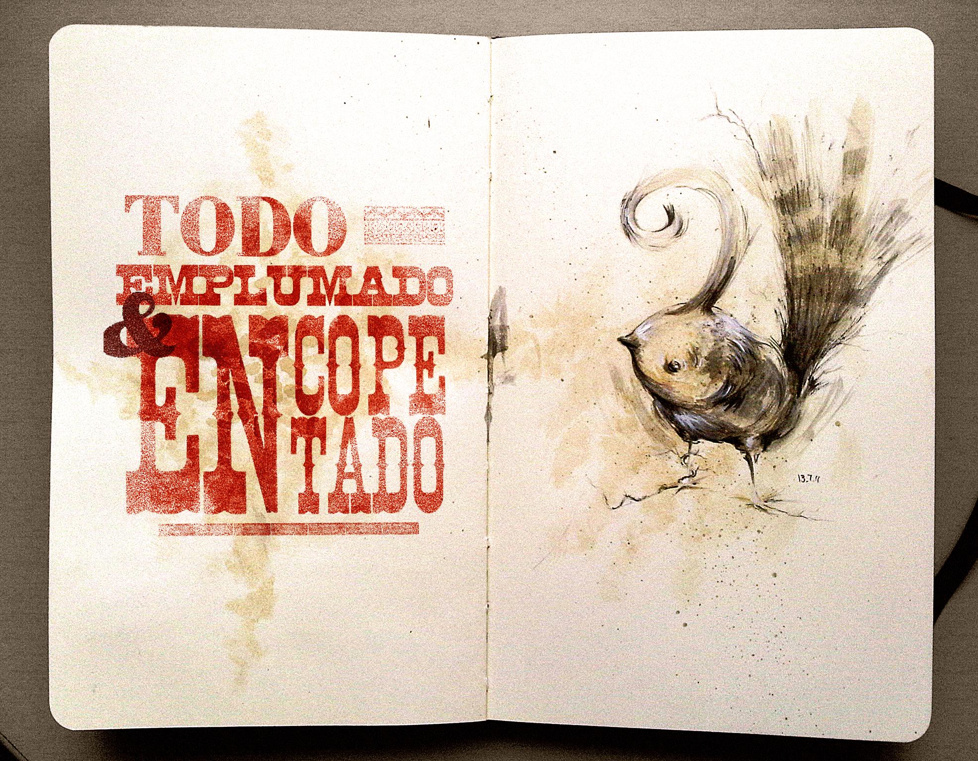Wallpaper : bird, feet, moleskine, coffee, stain