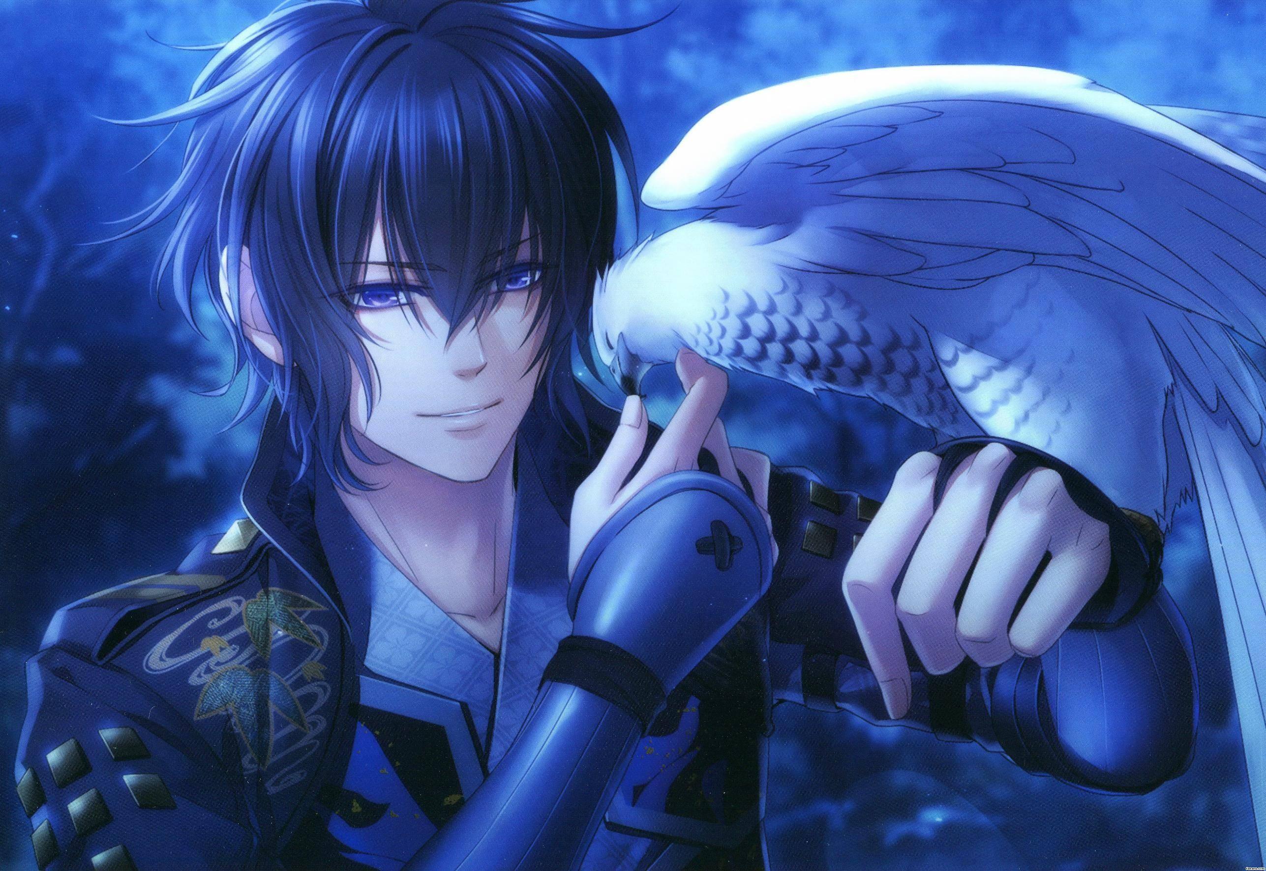 Birds anime blue eyes anime boys blue hawks eagle toki no kizuna kazuya toki no kizuna