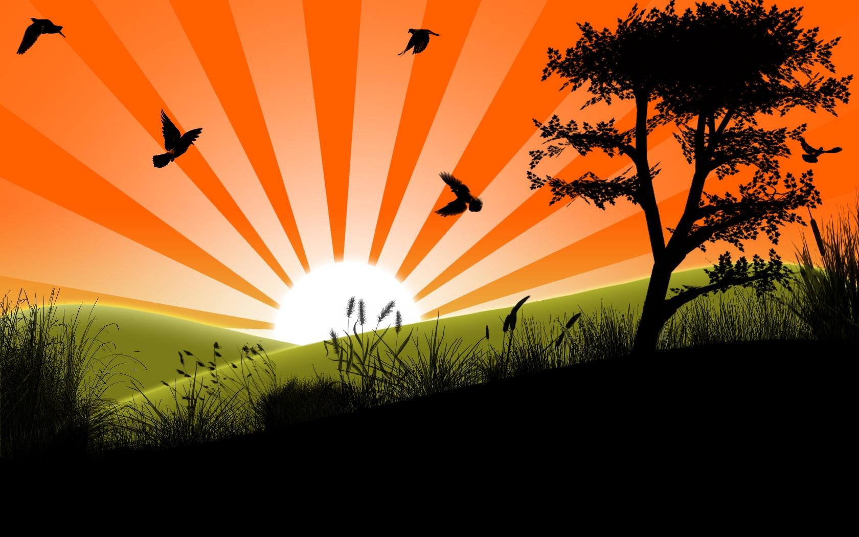 Восход солнца картинки нарисованные, открытку