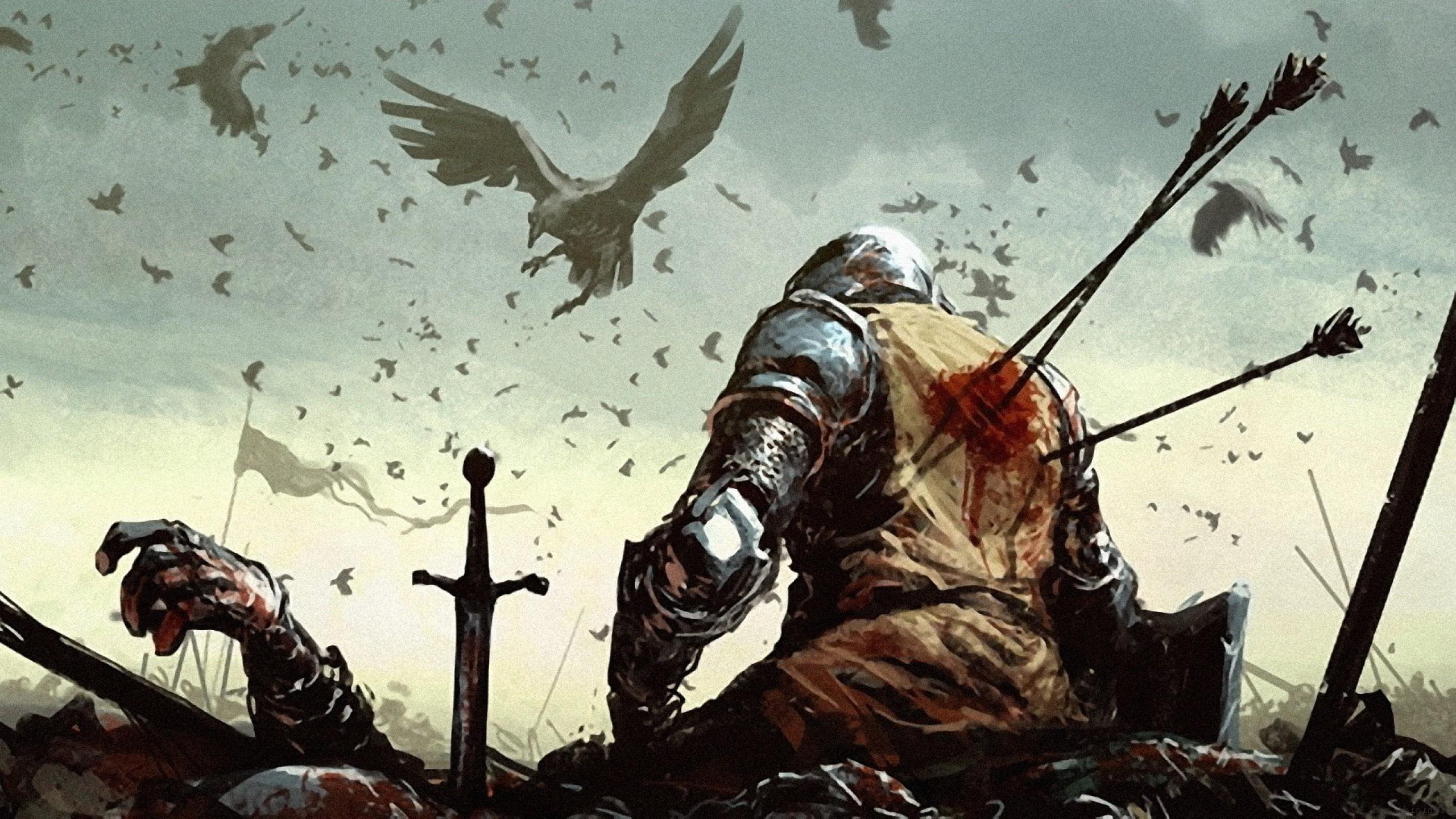 Birds Soldier Blood Warrior Medieval Battlefields Arrows Screenshot 2560x1440 Px