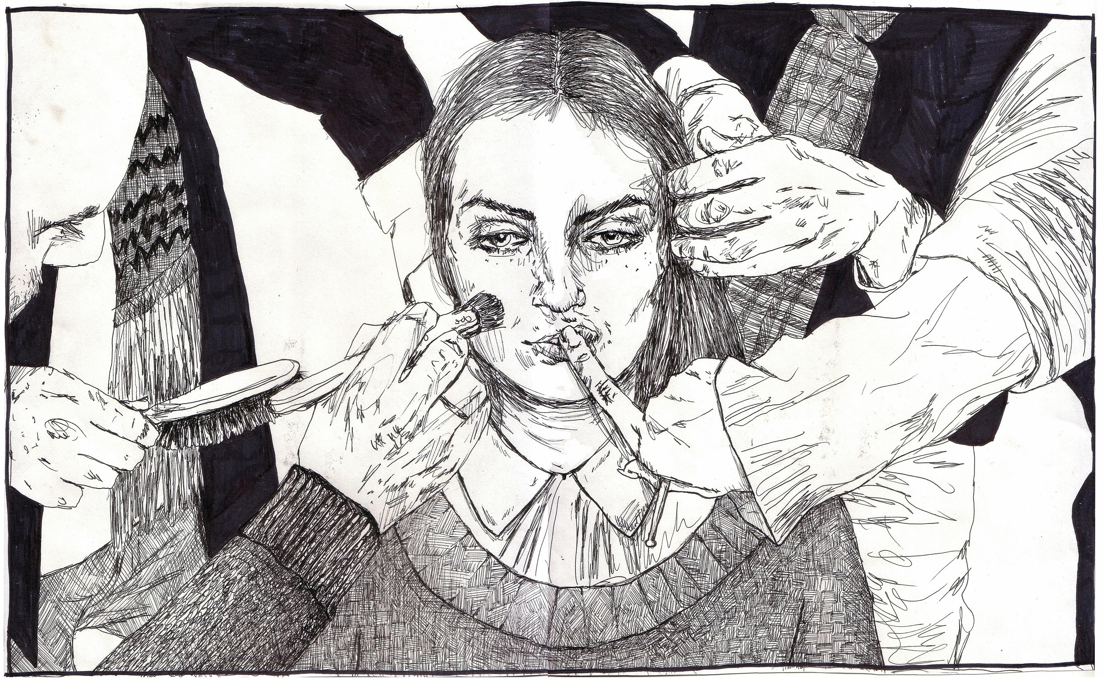 Wallpaper Hitam Dan Putih SENI Gambar Kartun Kepala