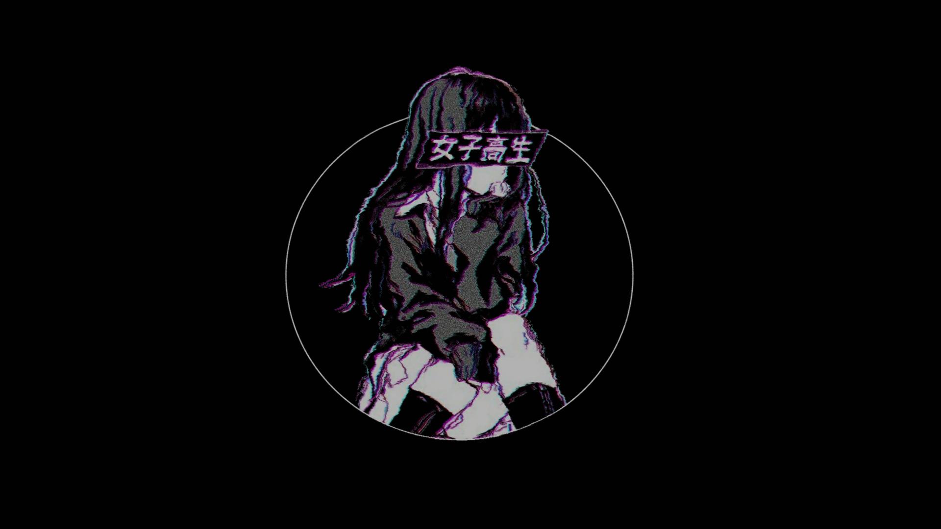 Wallpaper Black Background Chromatic Aberration Kanji Anime