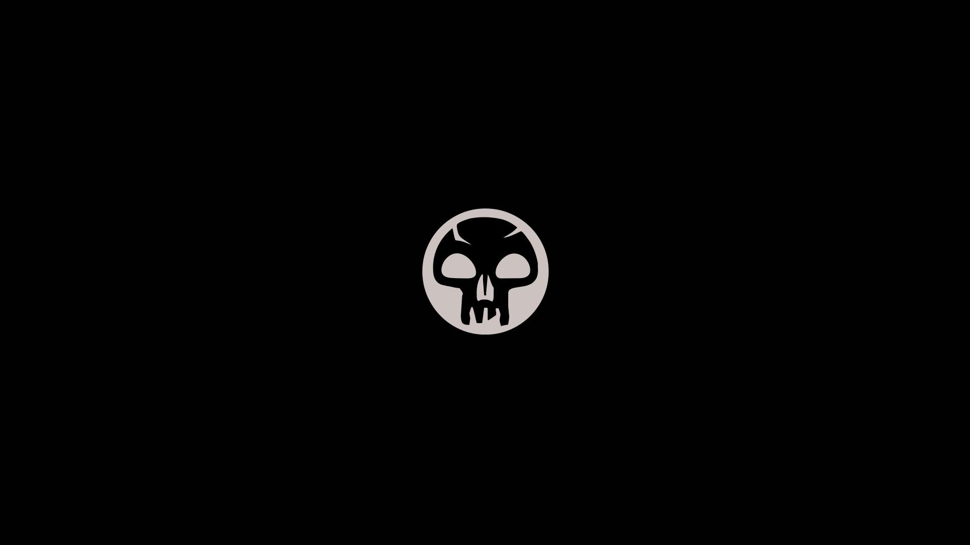 Black Background Minimalism Text Logo Simple Magic The Gathering Circle Skull Brand Trading Card Games Symbol