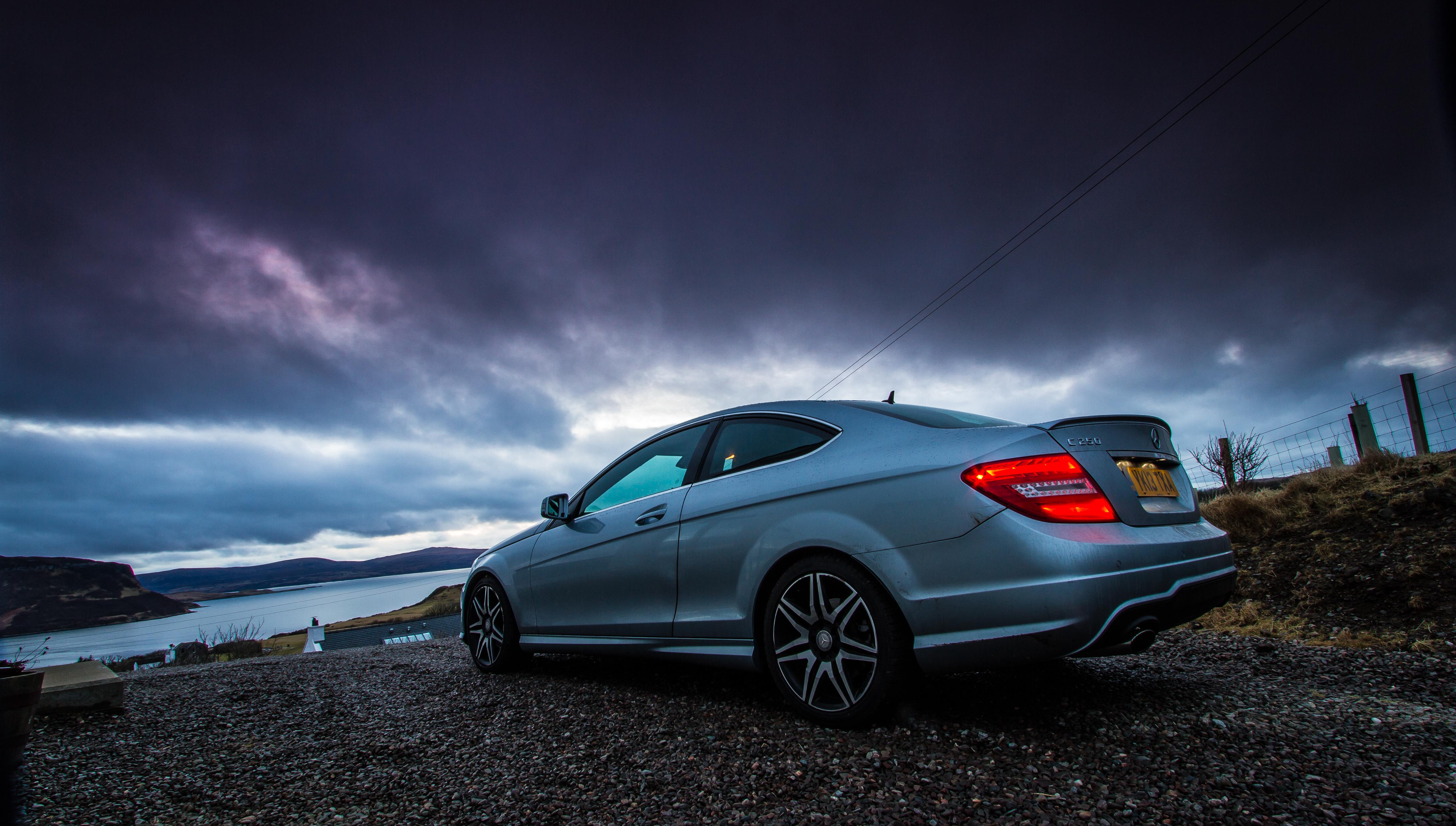 Fond D Ecran Noir Reflexion Ciel Mercedes Benz Canon Voiture
