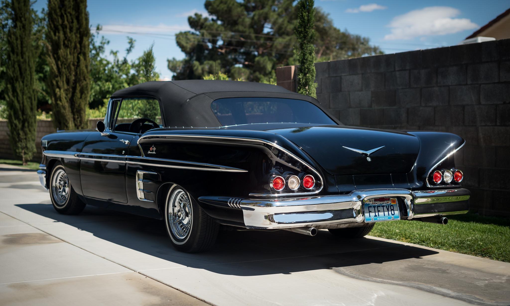 Masaüstü Siyah Araba Araç Arkadan Görünüm Cabrio Chevy