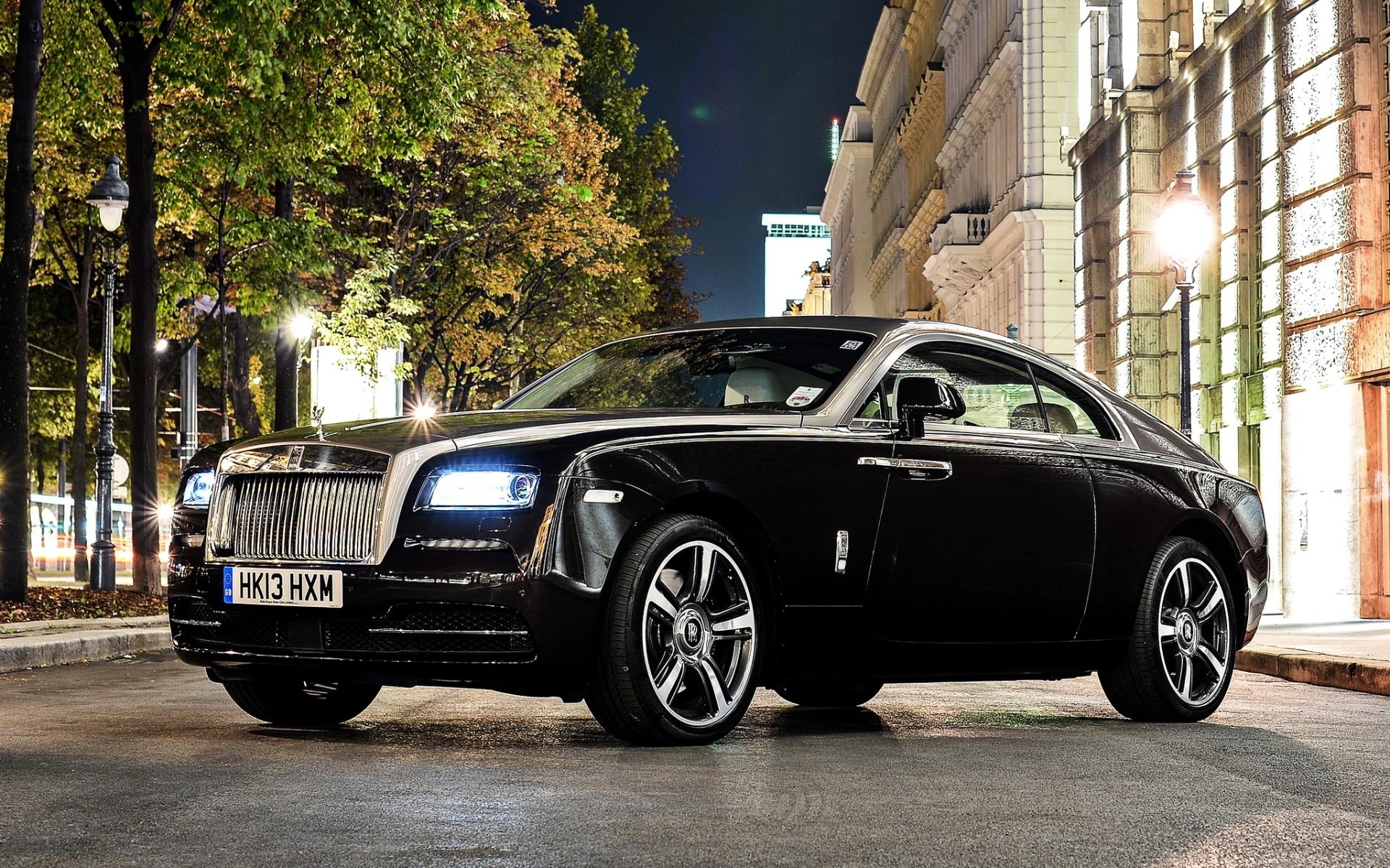 Wallpaper Black Side View Sports Car Rolls Royce Glitter
