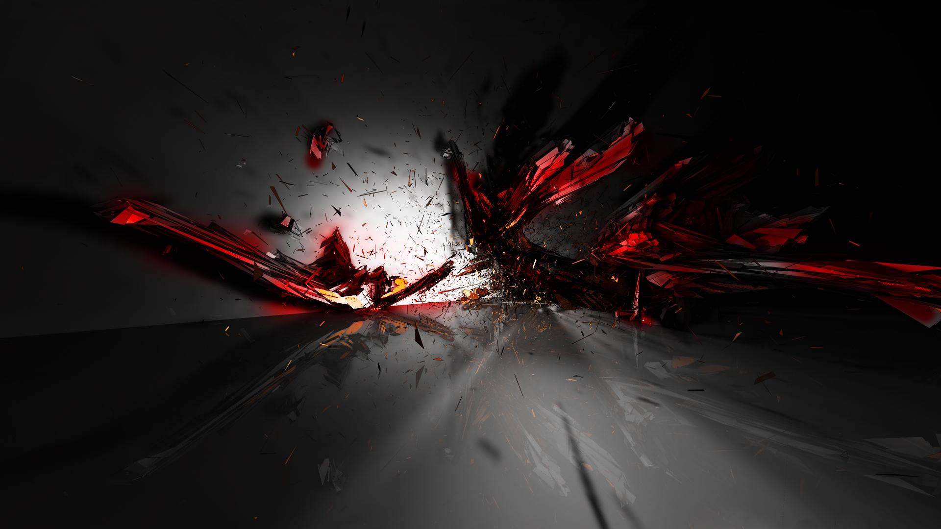 Fond D Ecran Noir Art Numerique Abstrait Rouge