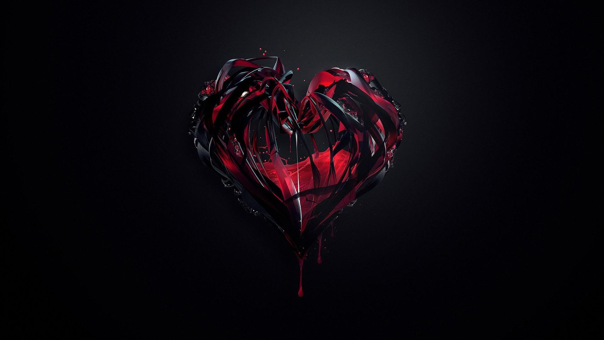 Wallpaper : black, digital art, heart, red, reflection ...