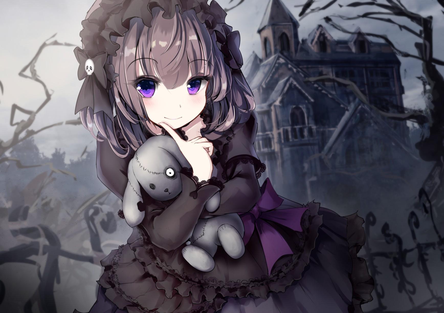 Hình Nền Chiếc đầm Màu đen Anime Tóc Ngắn Gấu Bông Tóc