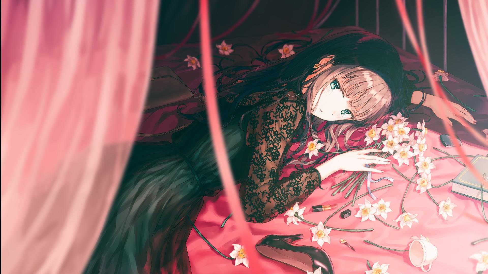 Wallpaper Black Dress Flowers Bangs Anime Girls Lying Down Heels 1920x1080 Zloster 1874091 Hd Wallpapers Wallhere