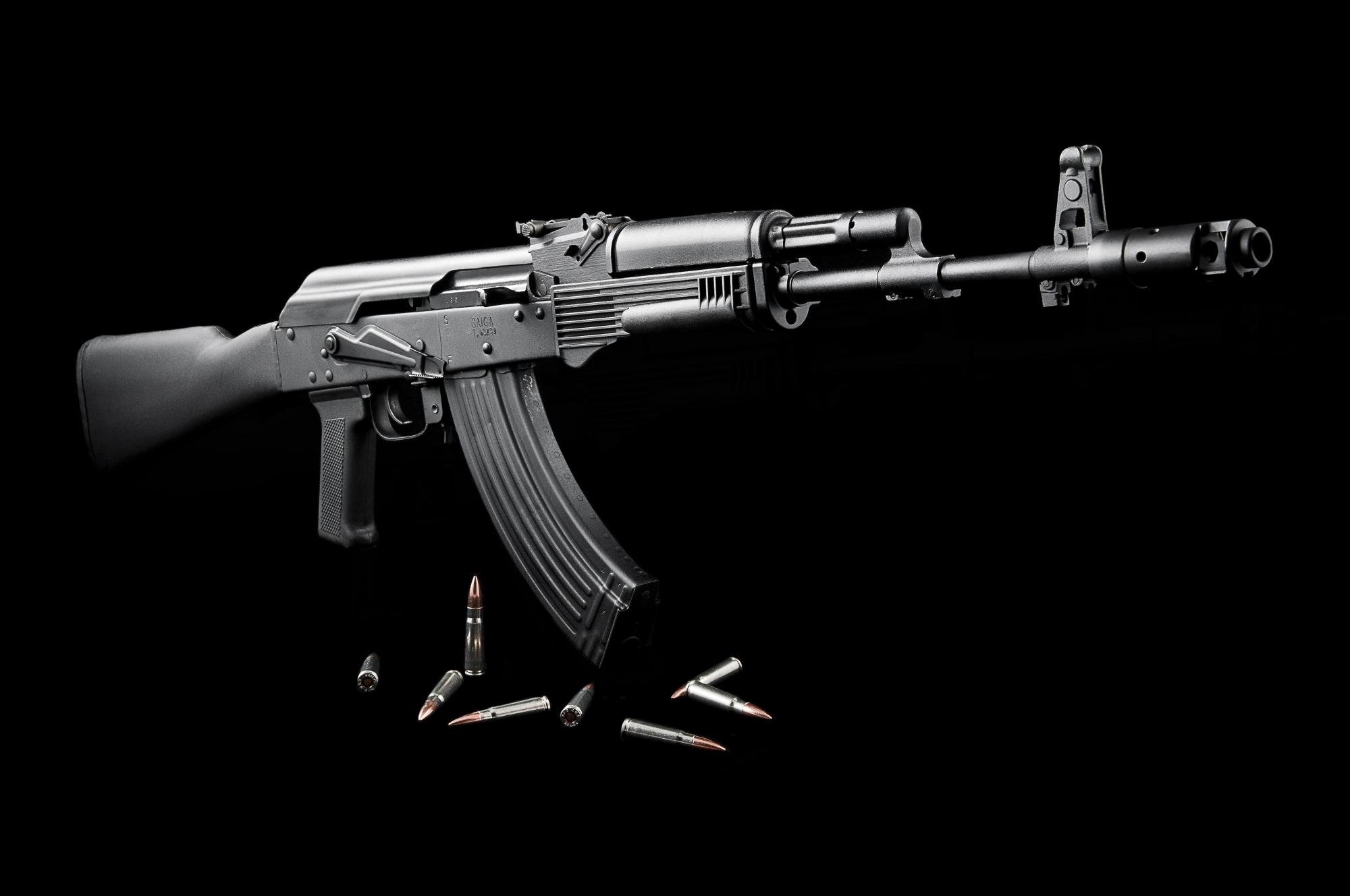 Masaüstü Siyah Silah Siyah Arka Plan Mühimmat Saldırı Tüfeği