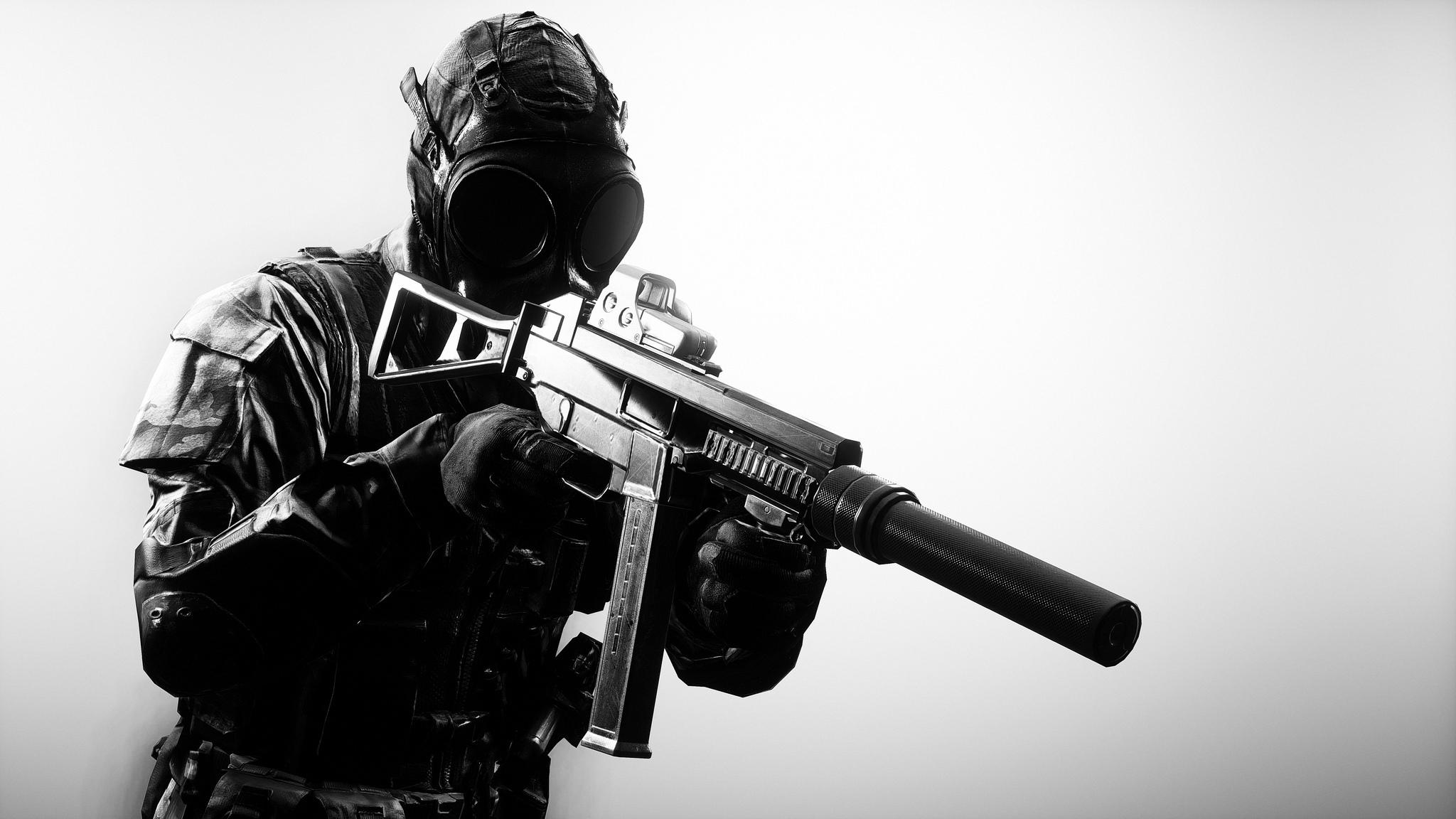 Wallpaper Gun Weapon Mask Soldier Machine Marksman