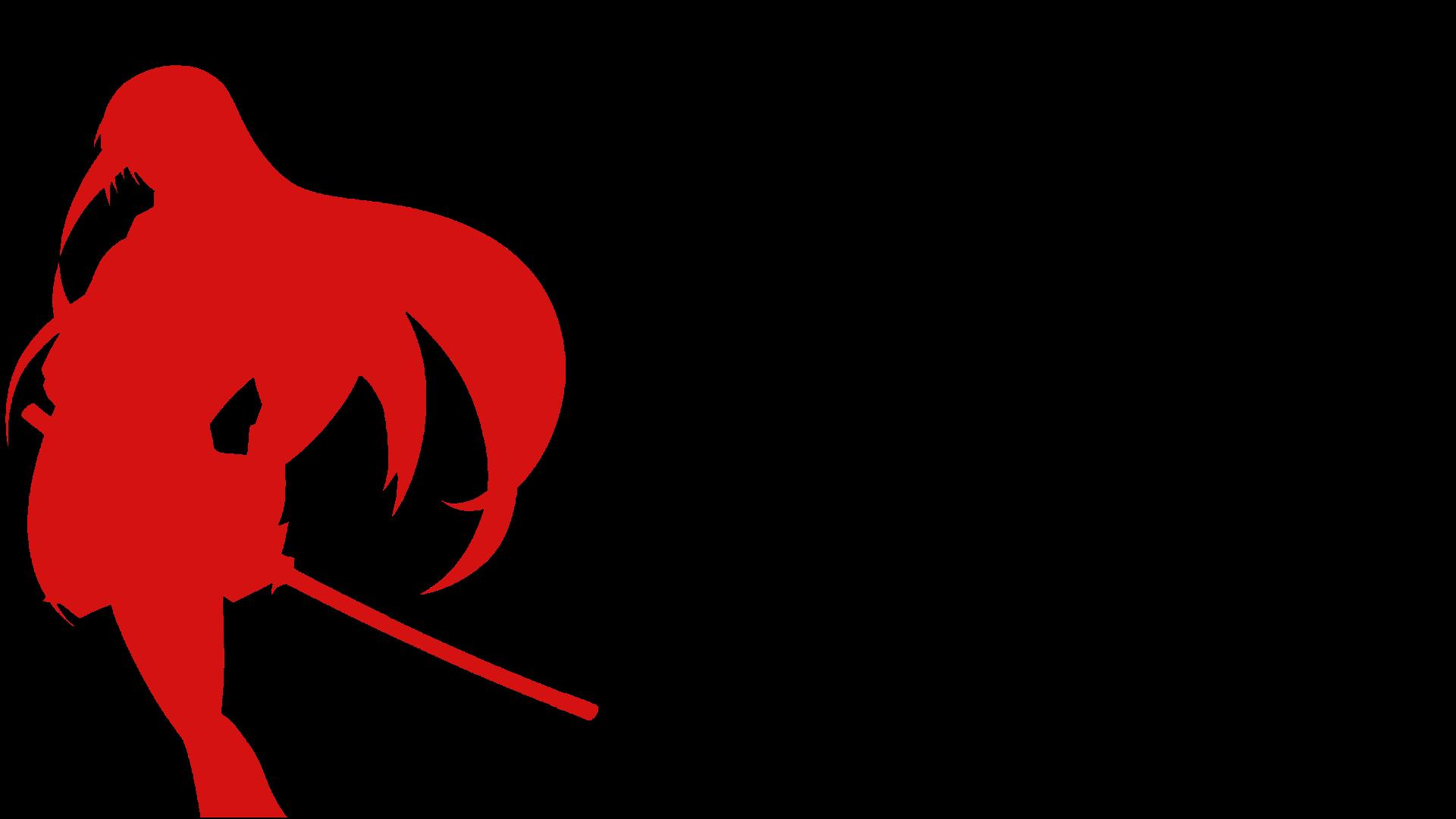 デスクトップ壁紙 黒 図 アニメの女の子 赤 シルエット カタナ