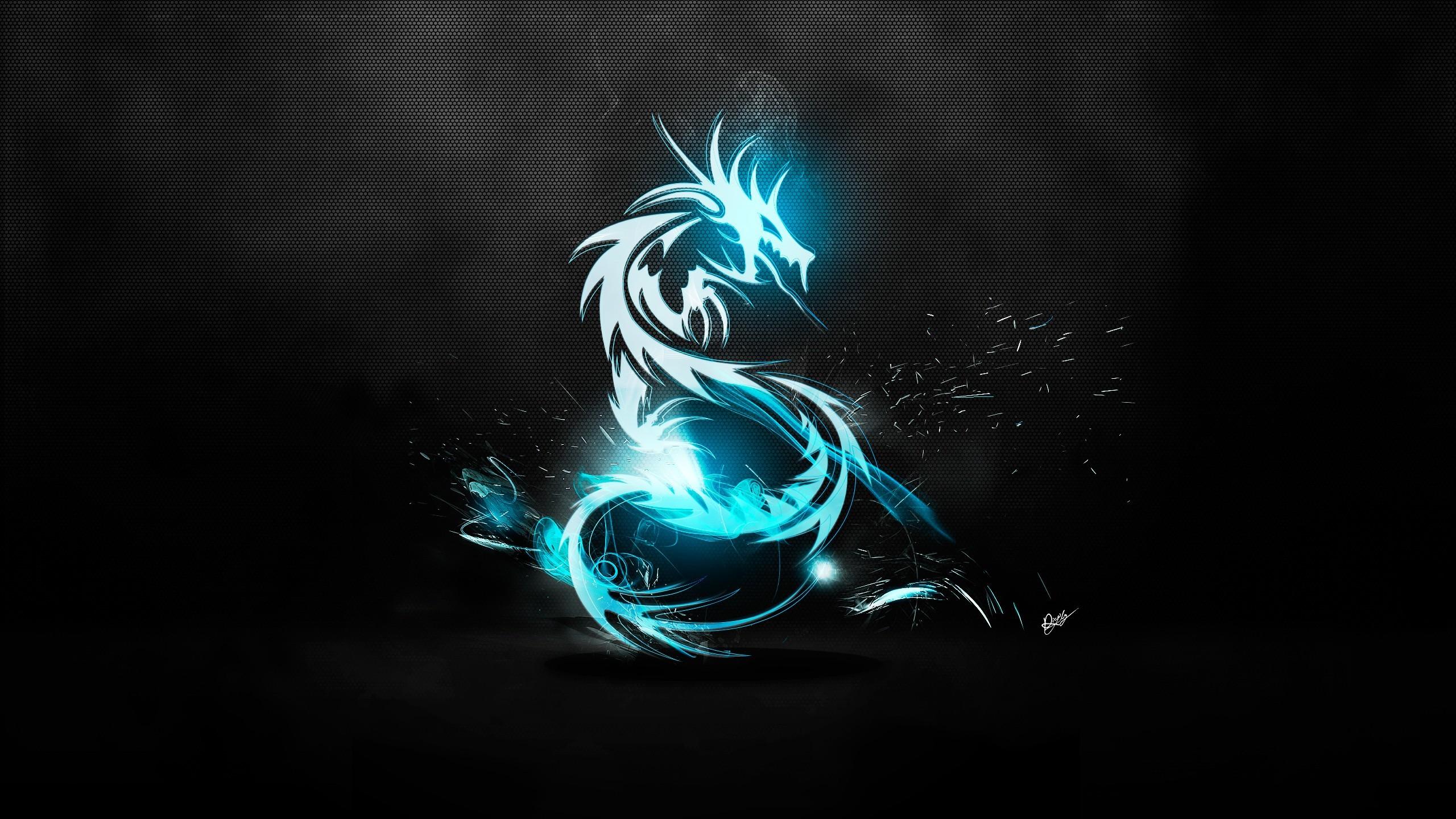 Sfondi Nero Illustrazione Arte Digitale Fumo Blu Drago