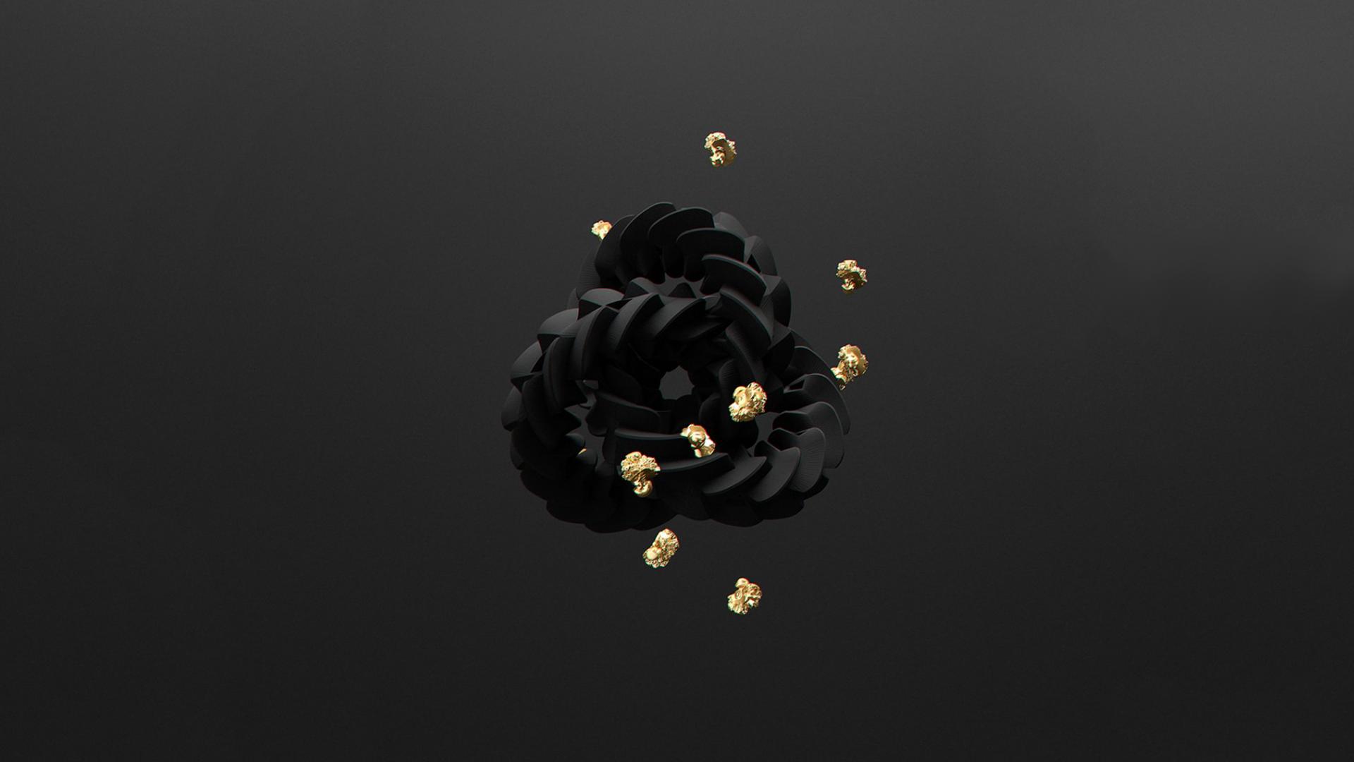 Black Illustration Minimalism Yellow Gold 3d Object Light Flower Lighting Darkness Jewellery Screenshot Computer Wallpaper Macro