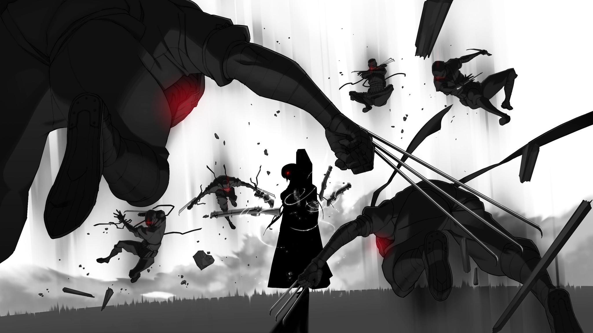 Fond D Ecran Illustration Monochrome Anime Dessin Anime Combat 2048x1152 Px Noir Et Blanc Photographie Monochrome 2048x1152 Coolwallpapers 538223 Fond D Ecran Wallhere