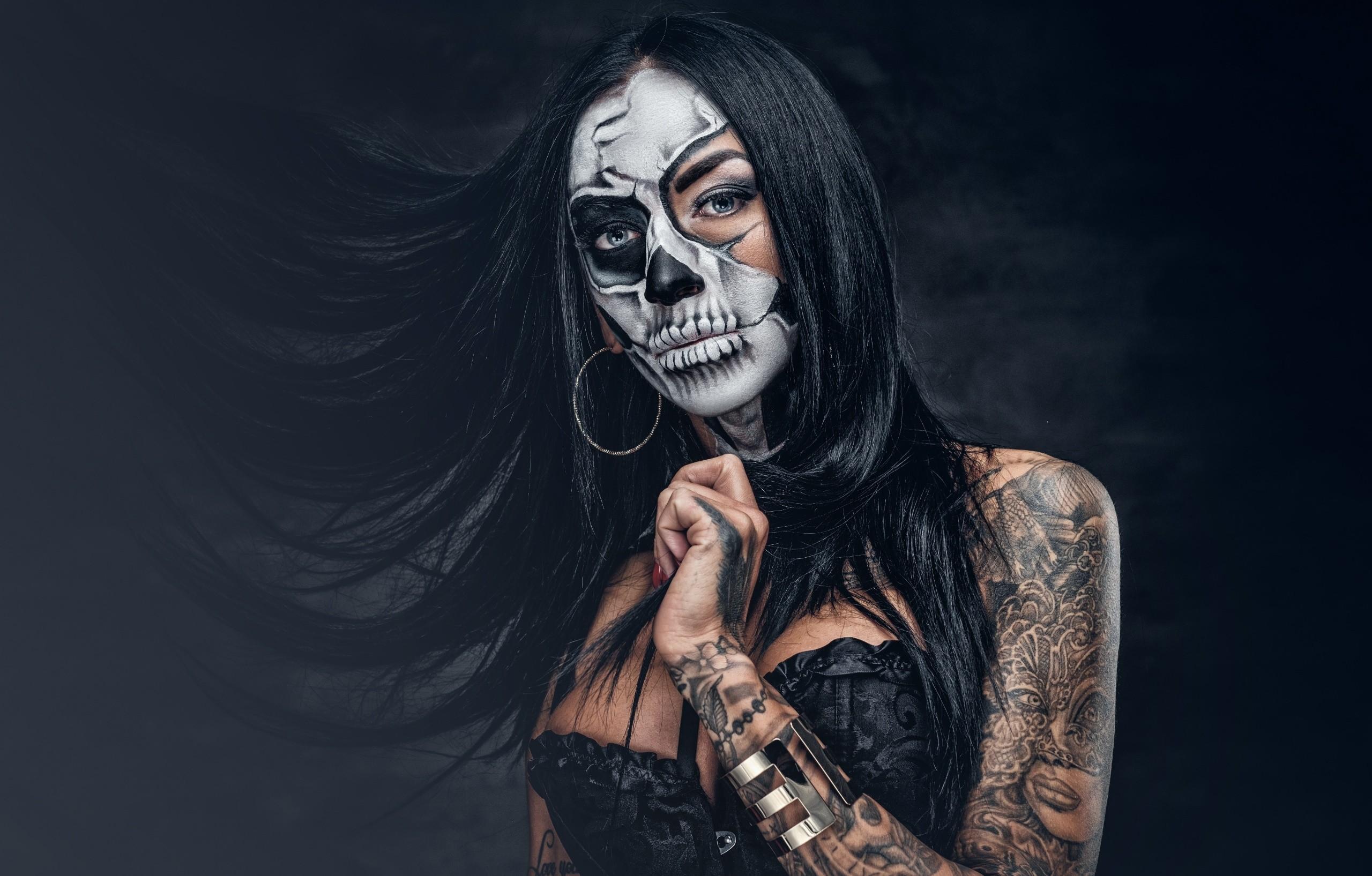 black illustration women model portrait makeup Dia de los Muertos darkness computer wallpaper