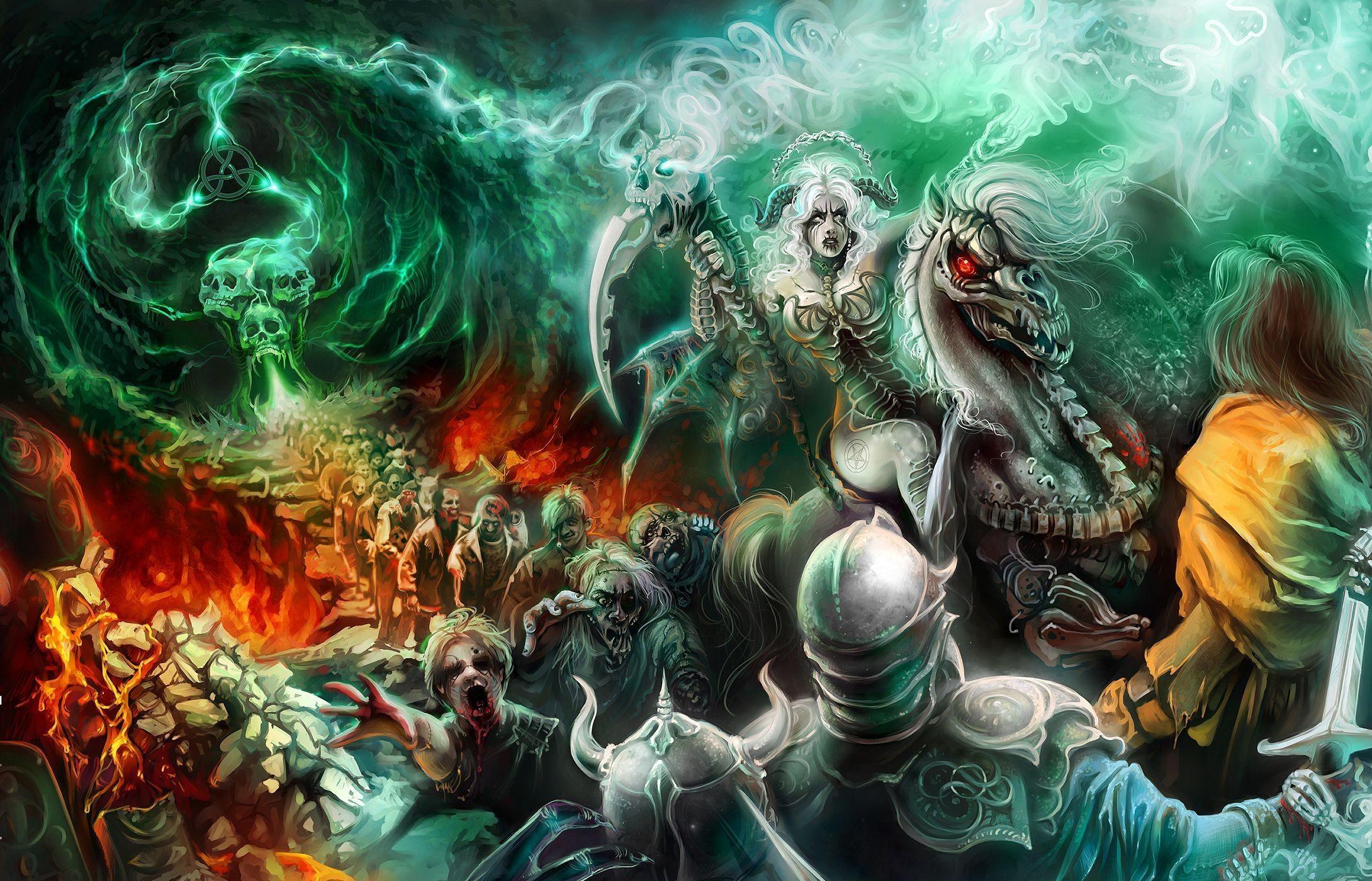 Fantasy Art Necromancers Wallpapers Hd Desktop And: Wallpaper : Black Magic, Undead, Skull, Dead, Army