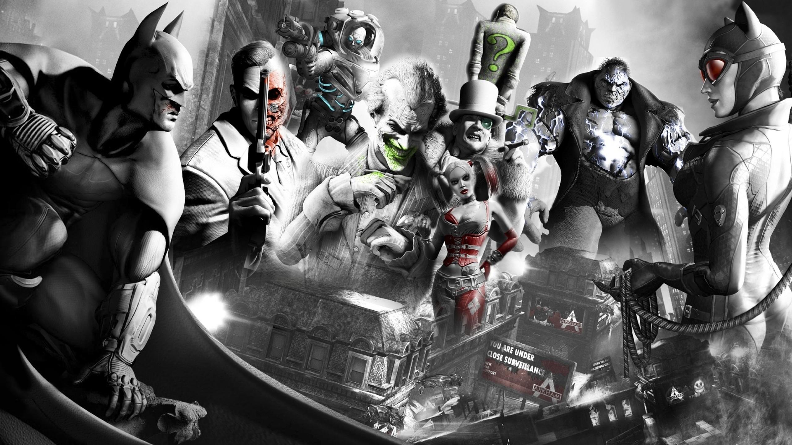 Wallpaper Black Monochrome Batman Arkham City Catwoman