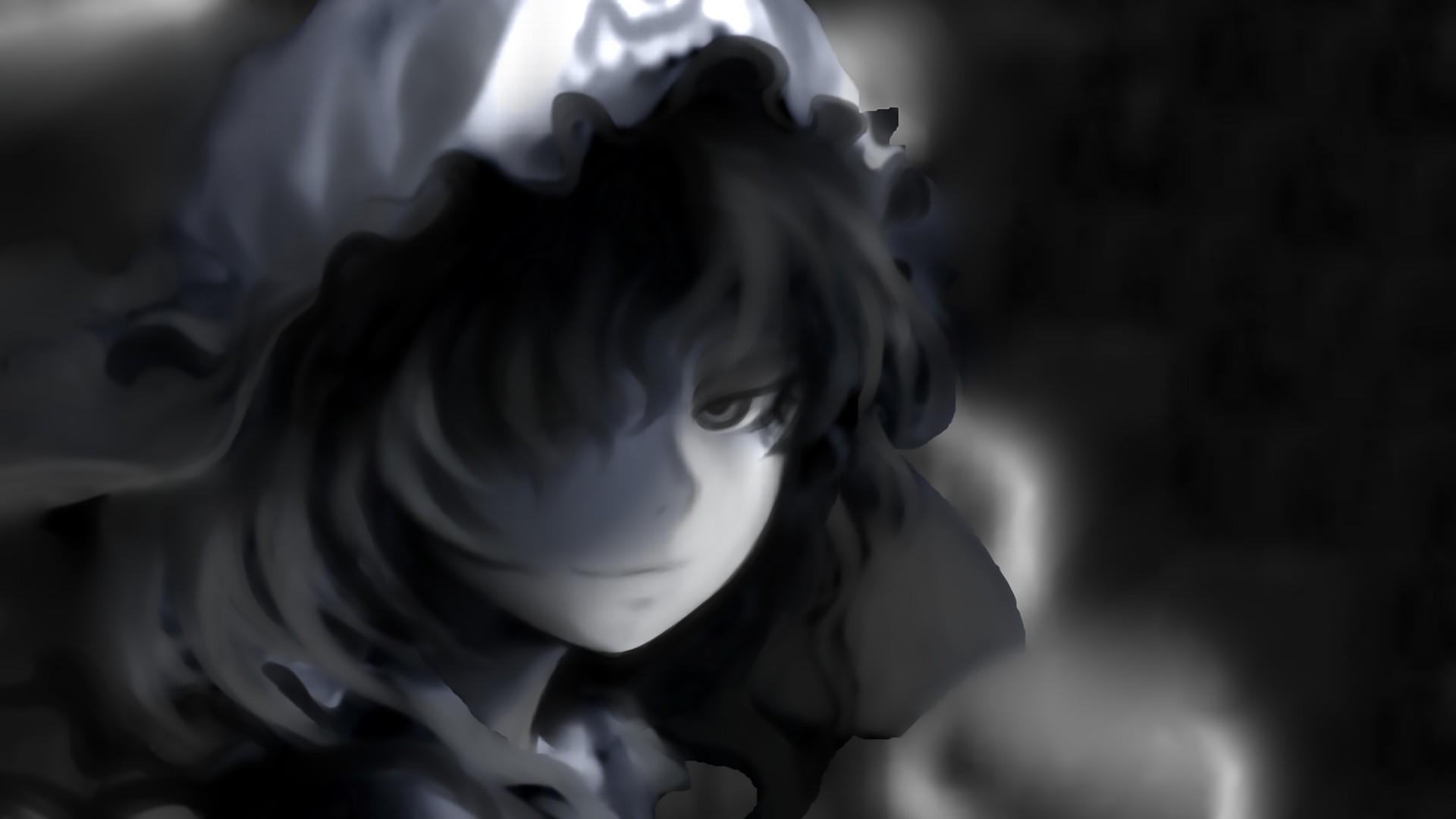 Wallpaper Anime Hat Touhou Saigyouji Yuyuko Smirk Darkness