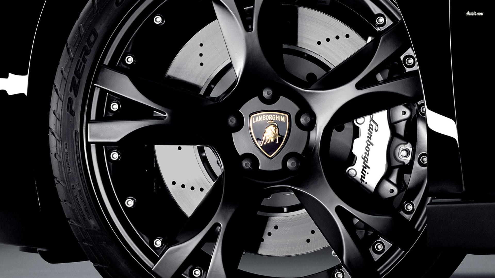 Black Monochrome Car Vehicle Lamborghini Sports Tire Steering Wheel Rim Supercar Emblem Automotive Design