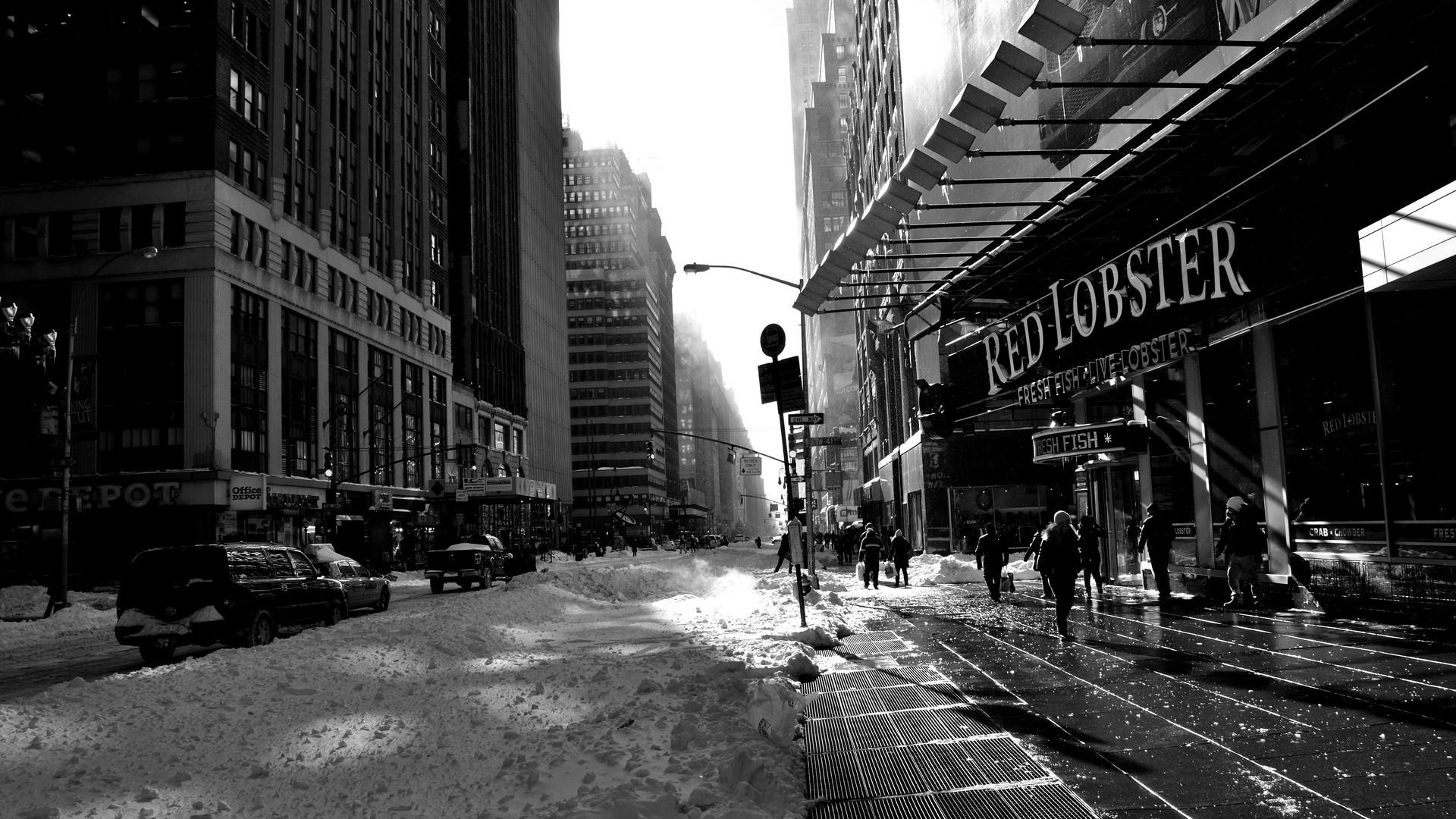 Wallpaper City Street Cityscape Night Building Snow Road