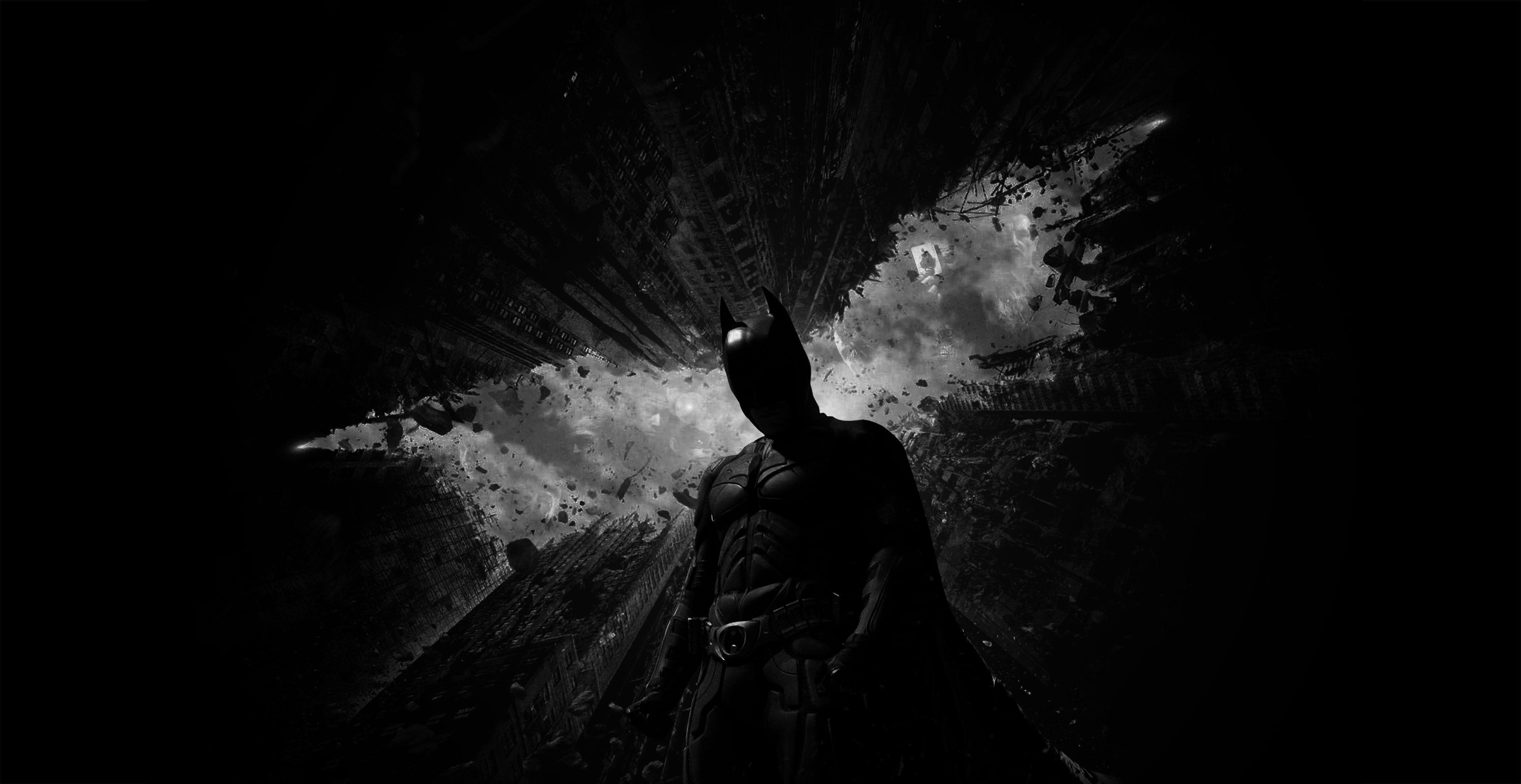 Wallpaper Dark Night Silhouette Batman The Dark Knight Rises Christian Bale Light Darkness Black And White Monochrome Photography 4208x2170 Maharaj 56876 Hd Wallpapers Wallhere