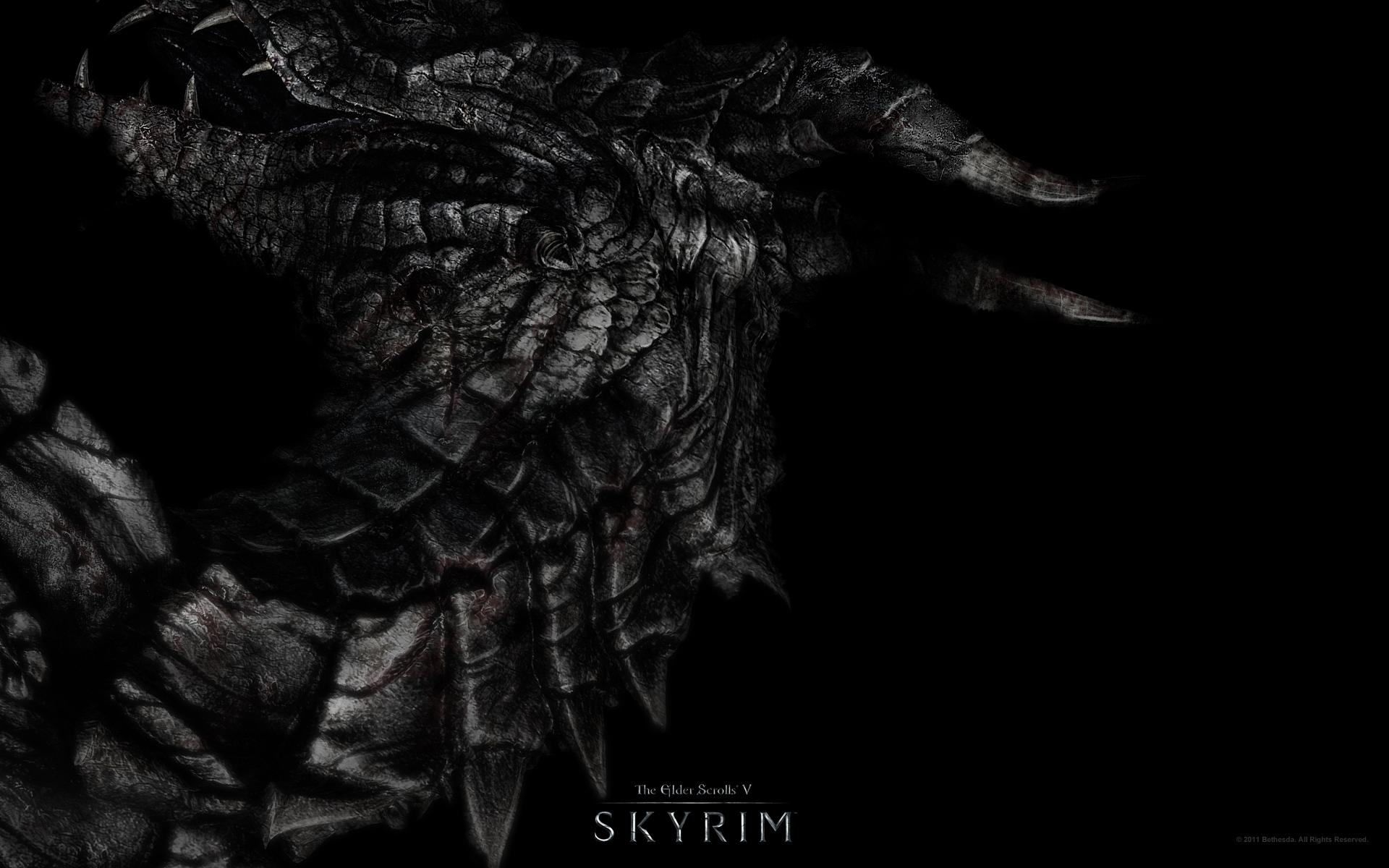 Wallpaper Dragon The Elder Scrolls V Skyrim Darkness