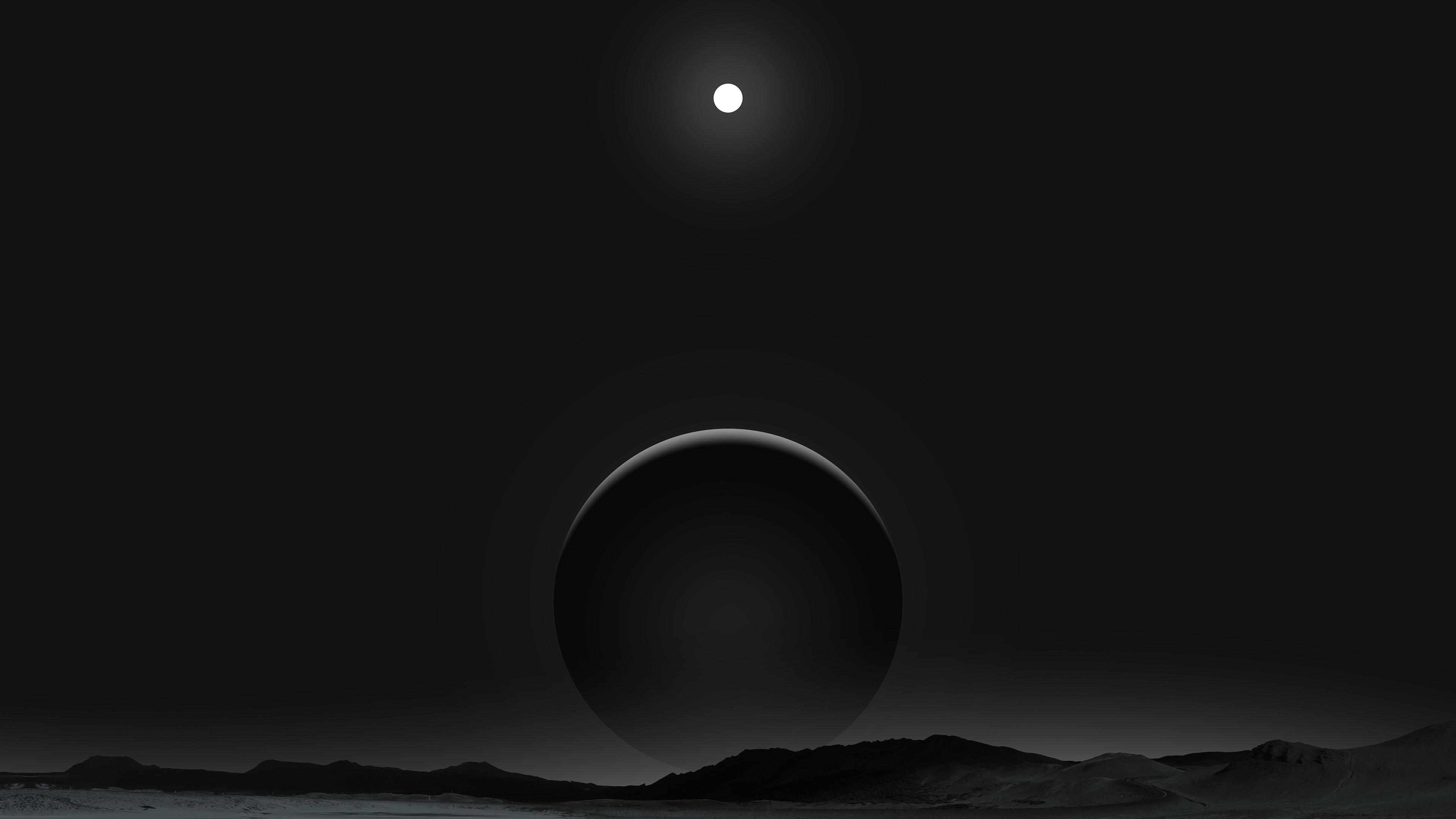 Papel De Parede Monocromático Noite Planeta Lua Luar