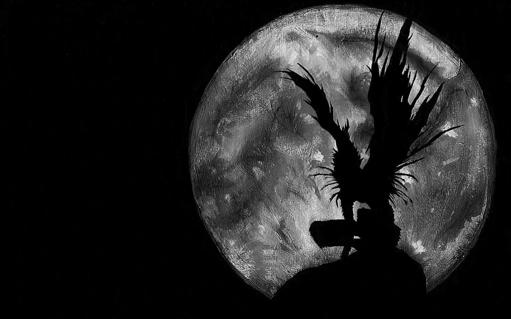 Wallpaper : Moon, circle, Death Note, Ryuk, head, eye ...