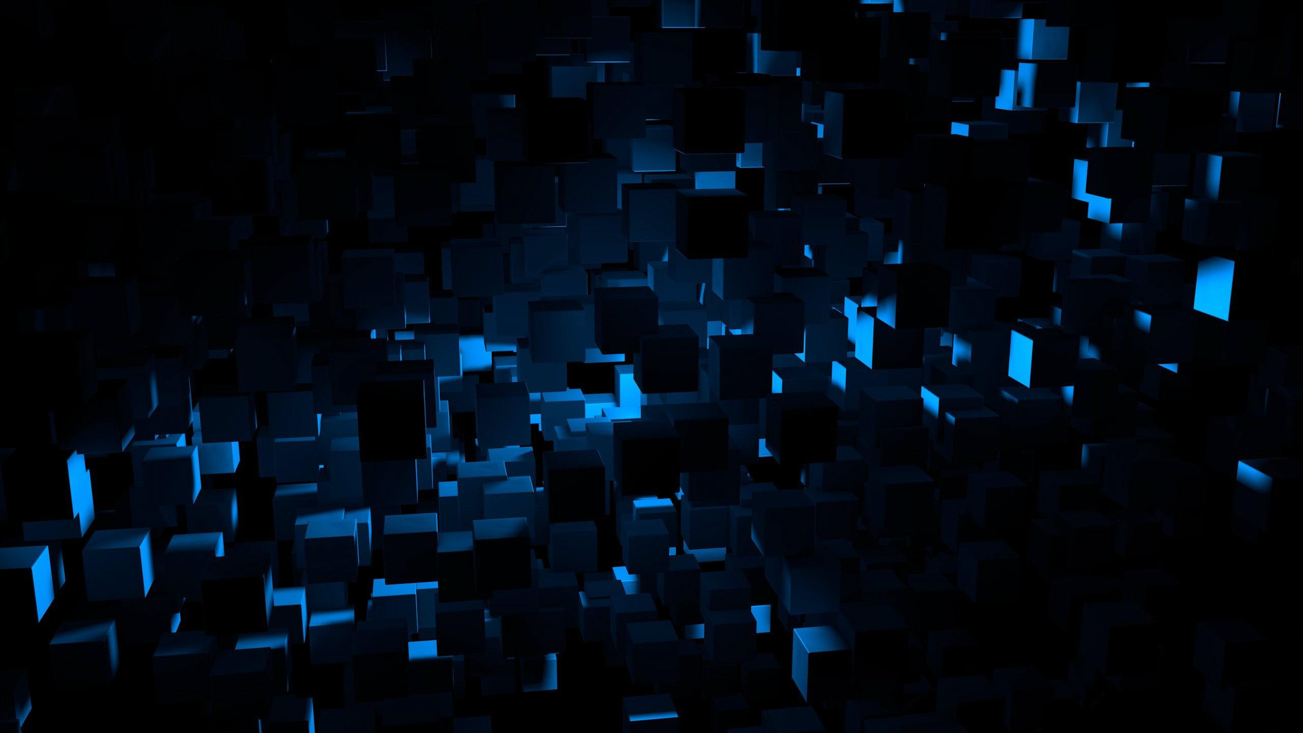 Fond D écran Noir Nuit Abstrait Bleu Cube Lumière Forme